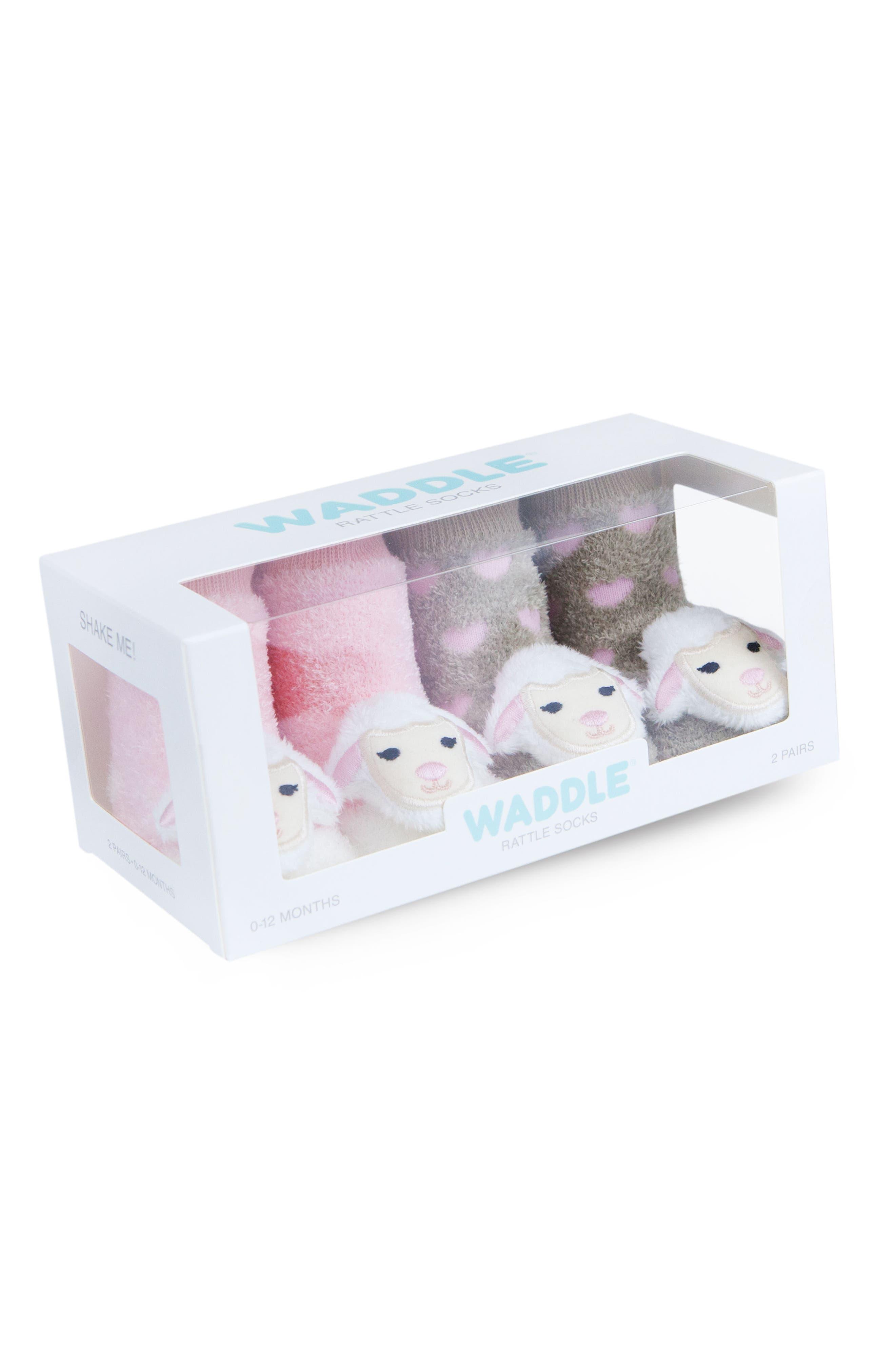 & Friends Lamb 2-Pack Rattle Socks,                             Alternate thumbnail 2, color,                             Pink/ Light Brown