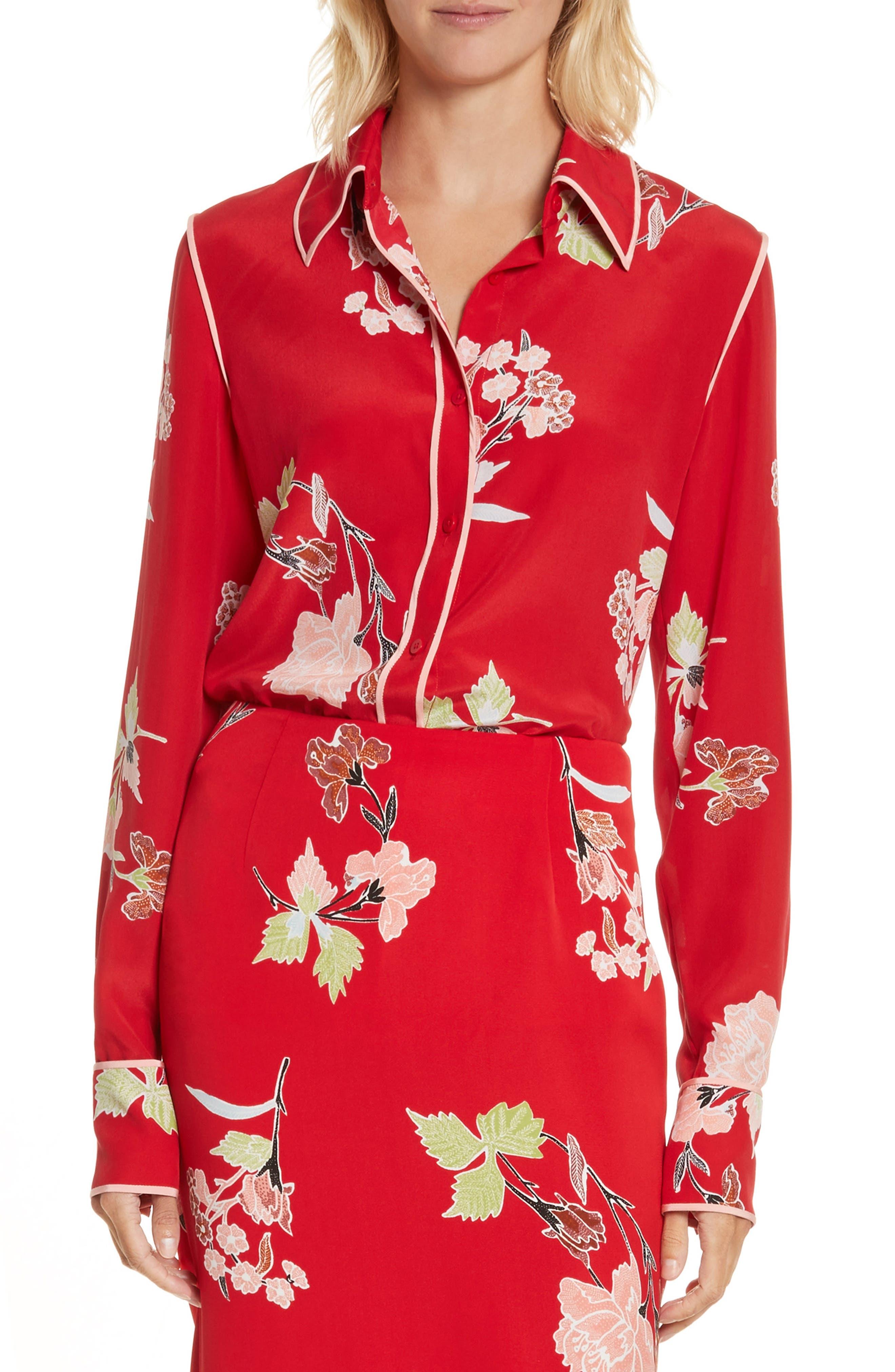 Main Image - Diane von Furstenberg Floral Print Silk Shirt