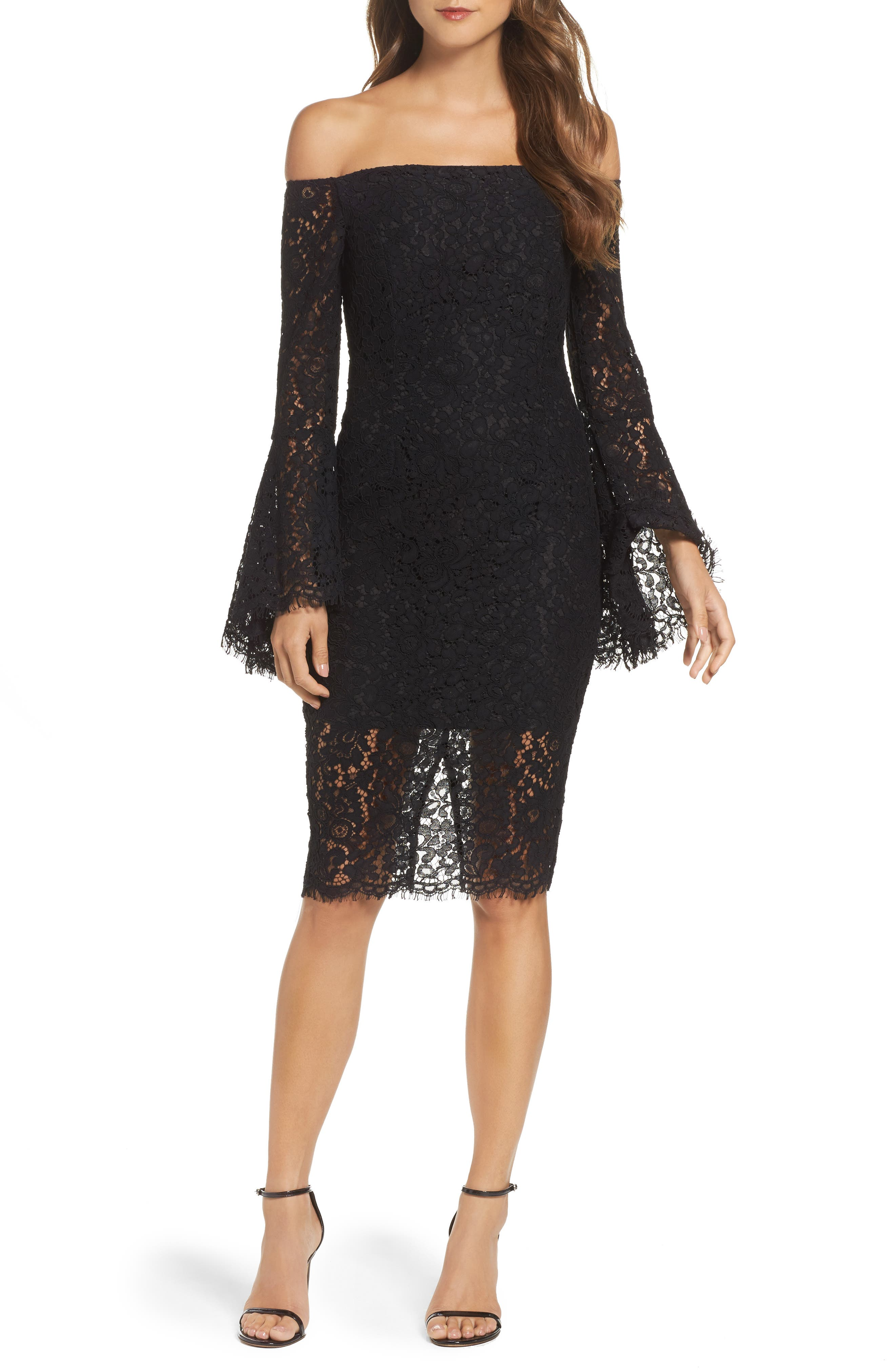 Black lace strapless dress with champagne slipper