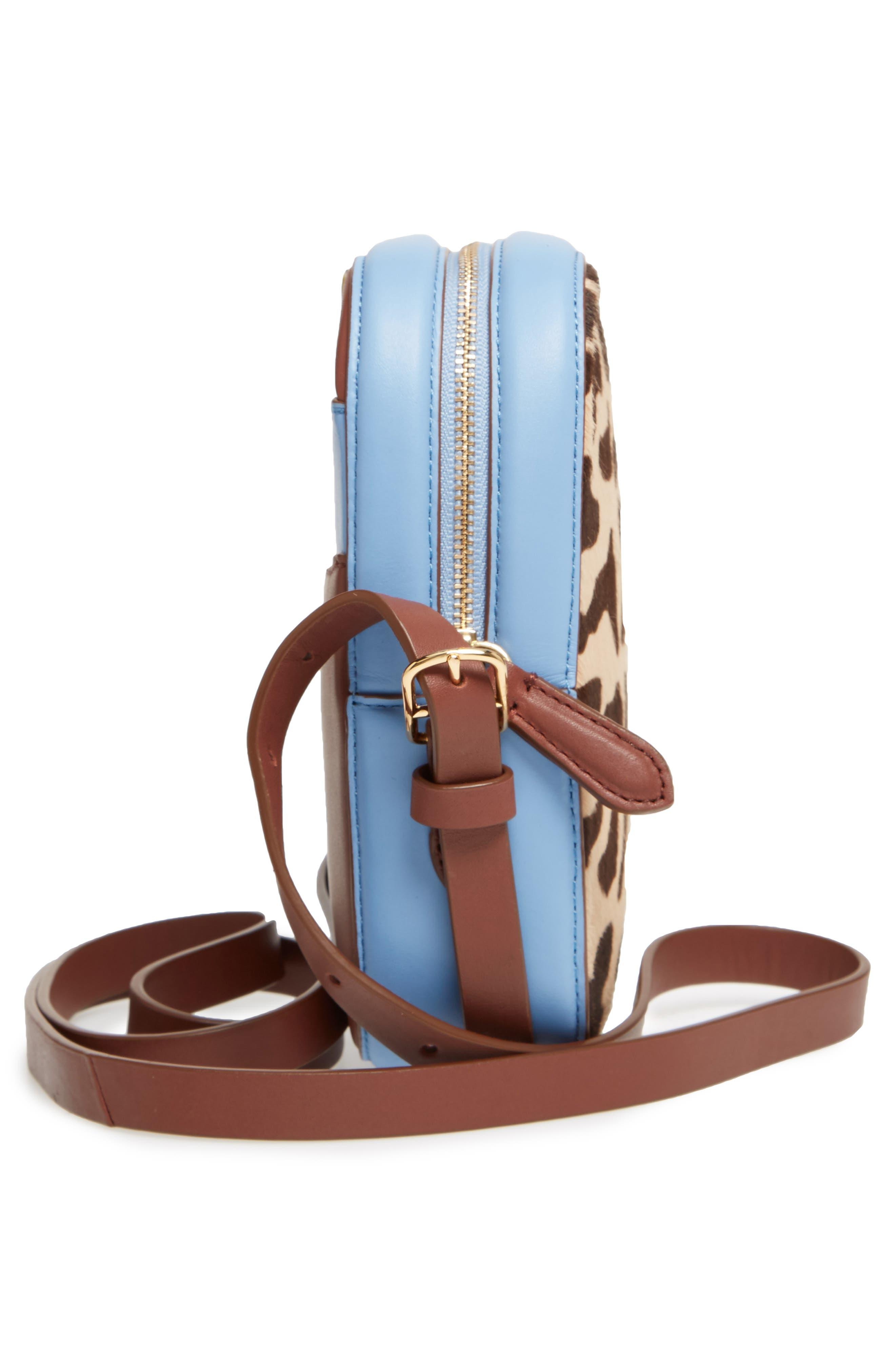 Leather & Genuine Calf Hair Camera Bag,                             Alternate thumbnail 5, color,                             Leopard/ Powder Blue