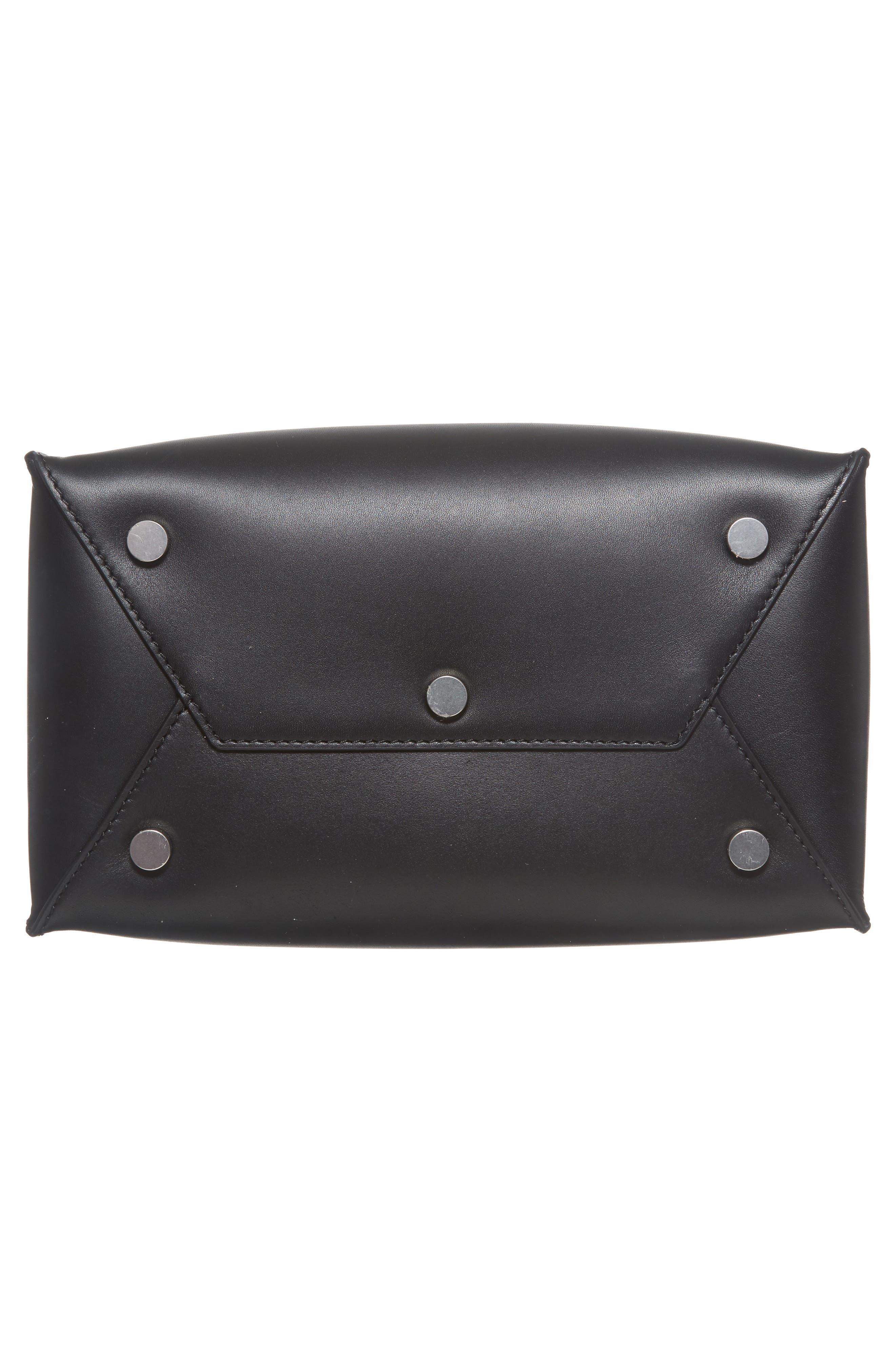 Genesis Box Chain Square Leather Shopper,                             Alternate thumbnail 4, color,                             Black