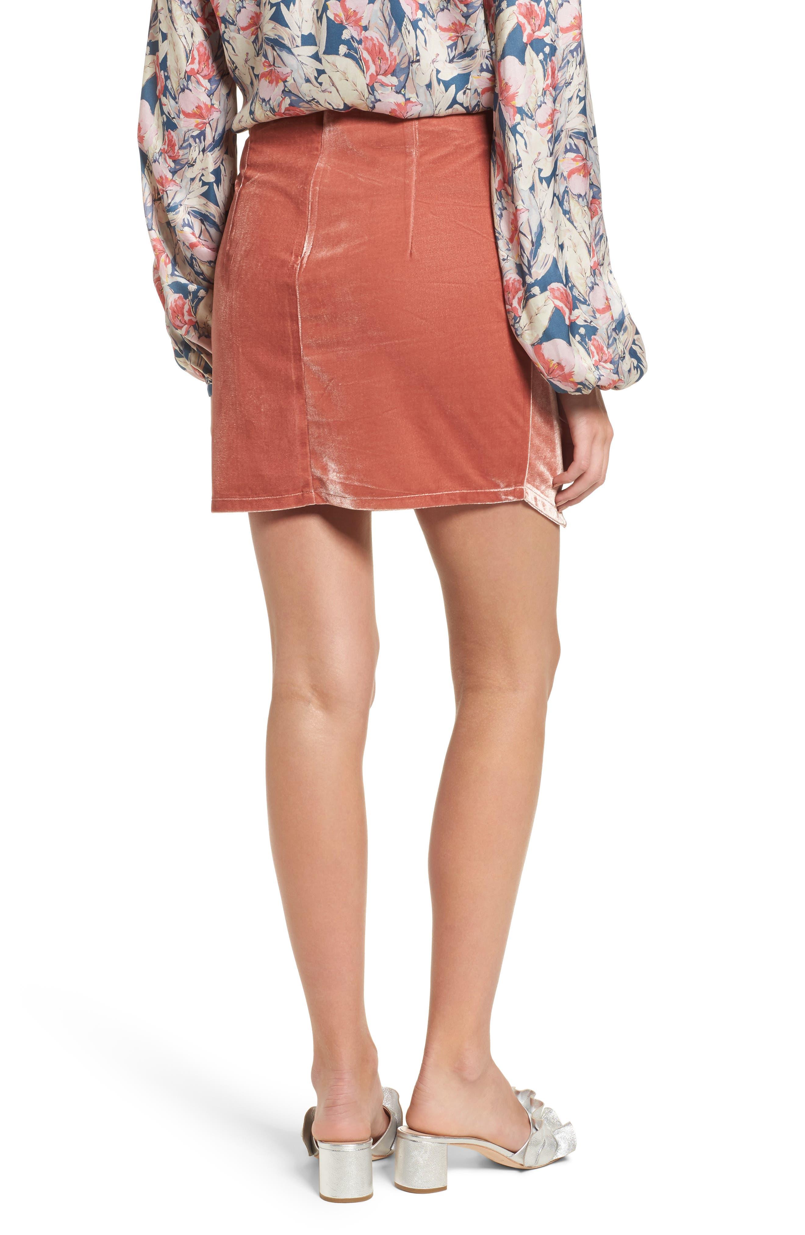 Katie Faux Wrap Skirt,                             Alternate thumbnail 2, color,                             Wild Rose