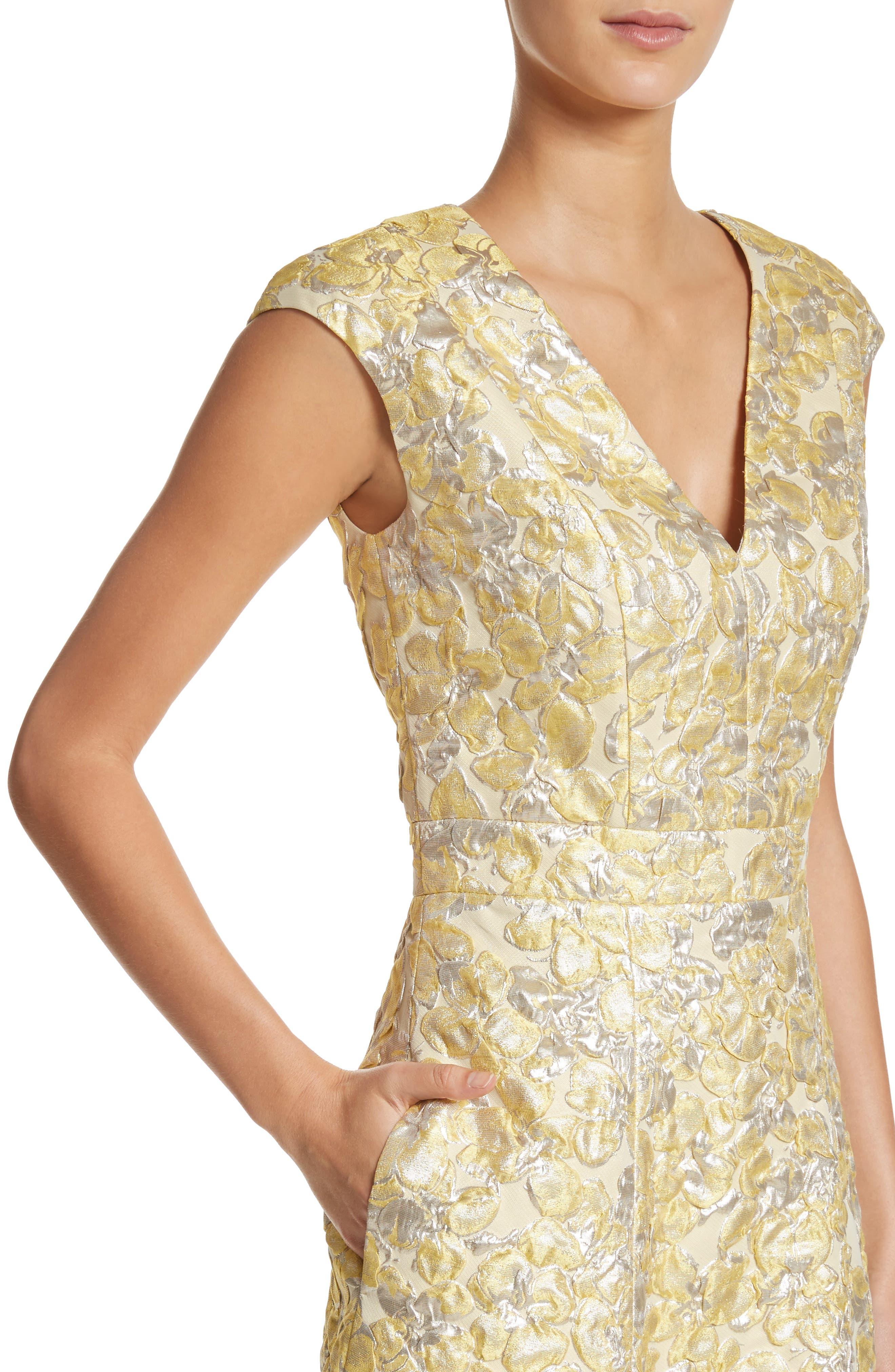 Metallic Floral Jacquard Dress,                             Alternate thumbnail 4, color,                             Lemon Multi