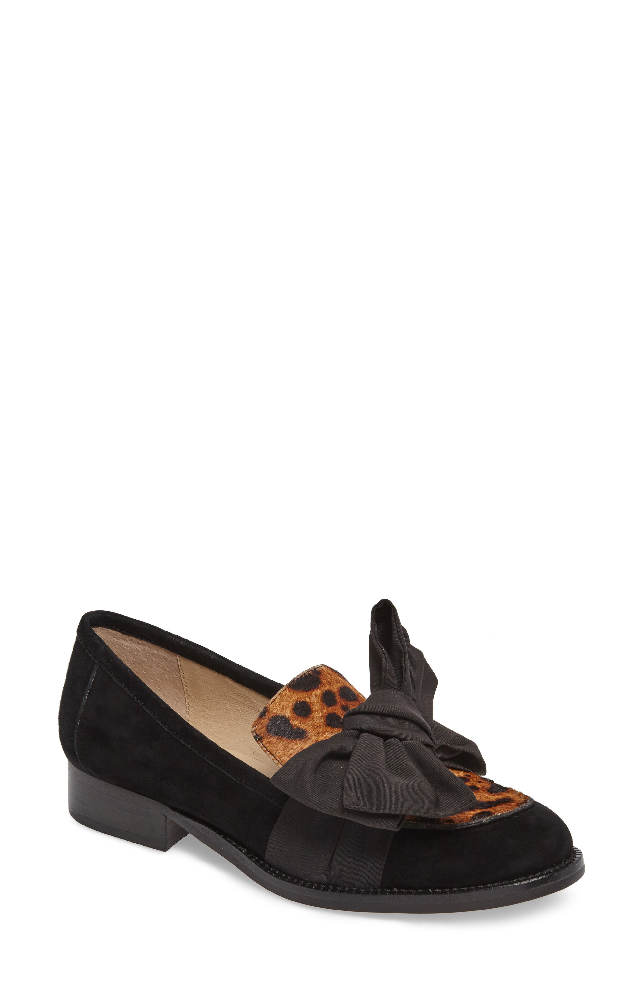 Violet Bow Loafer,                             Main thumbnail 1, color,                             Leopard Calf Hair/ Suede