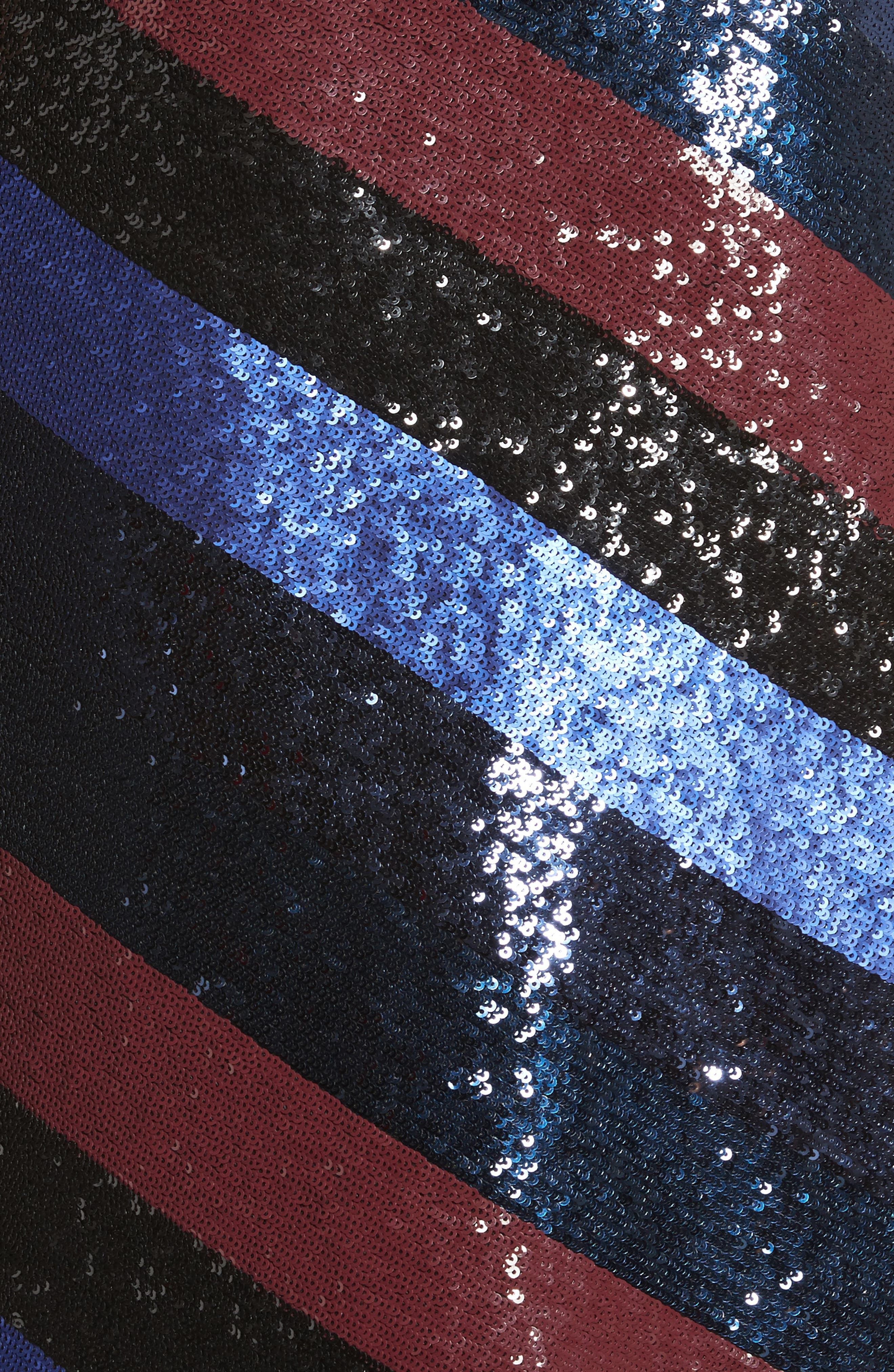 One-Shoulder Sequin Stripe Dress,                             Alternate thumbnail 5, color,                             Electric Blue Multi