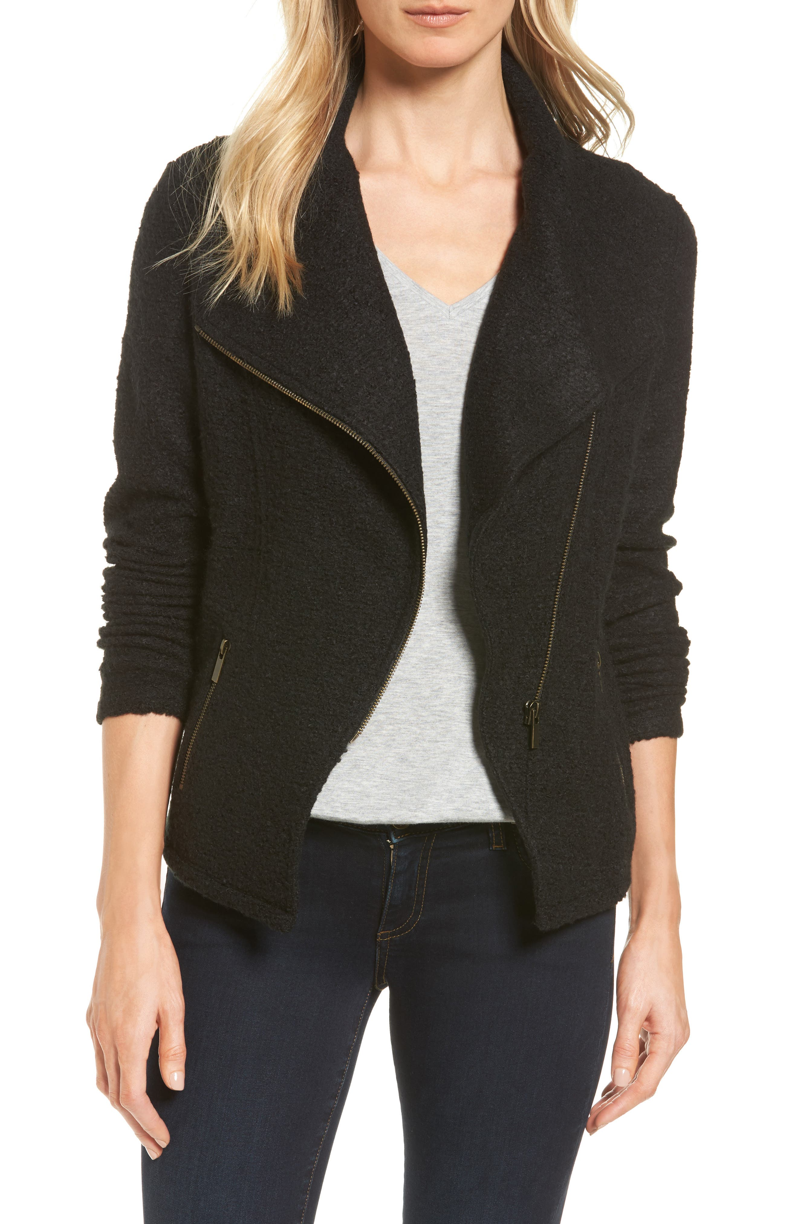 Alternate Image 1 Selected - Halogen® Knit Moto Jacket (Regular & Petite)