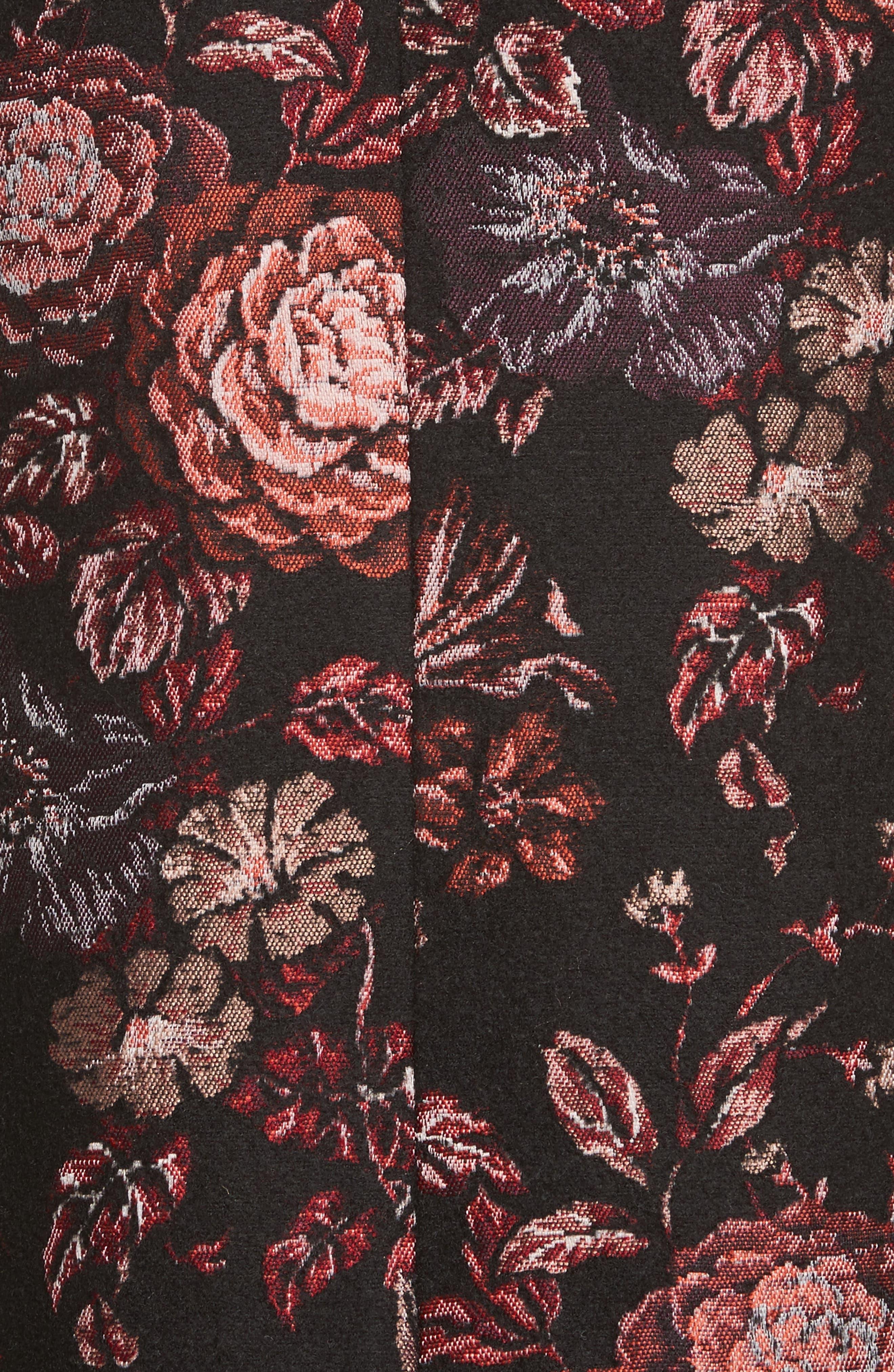 Floral Jacquard Peaked Lapel Coat,                             Alternate thumbnail 5, color,                             Tapestry