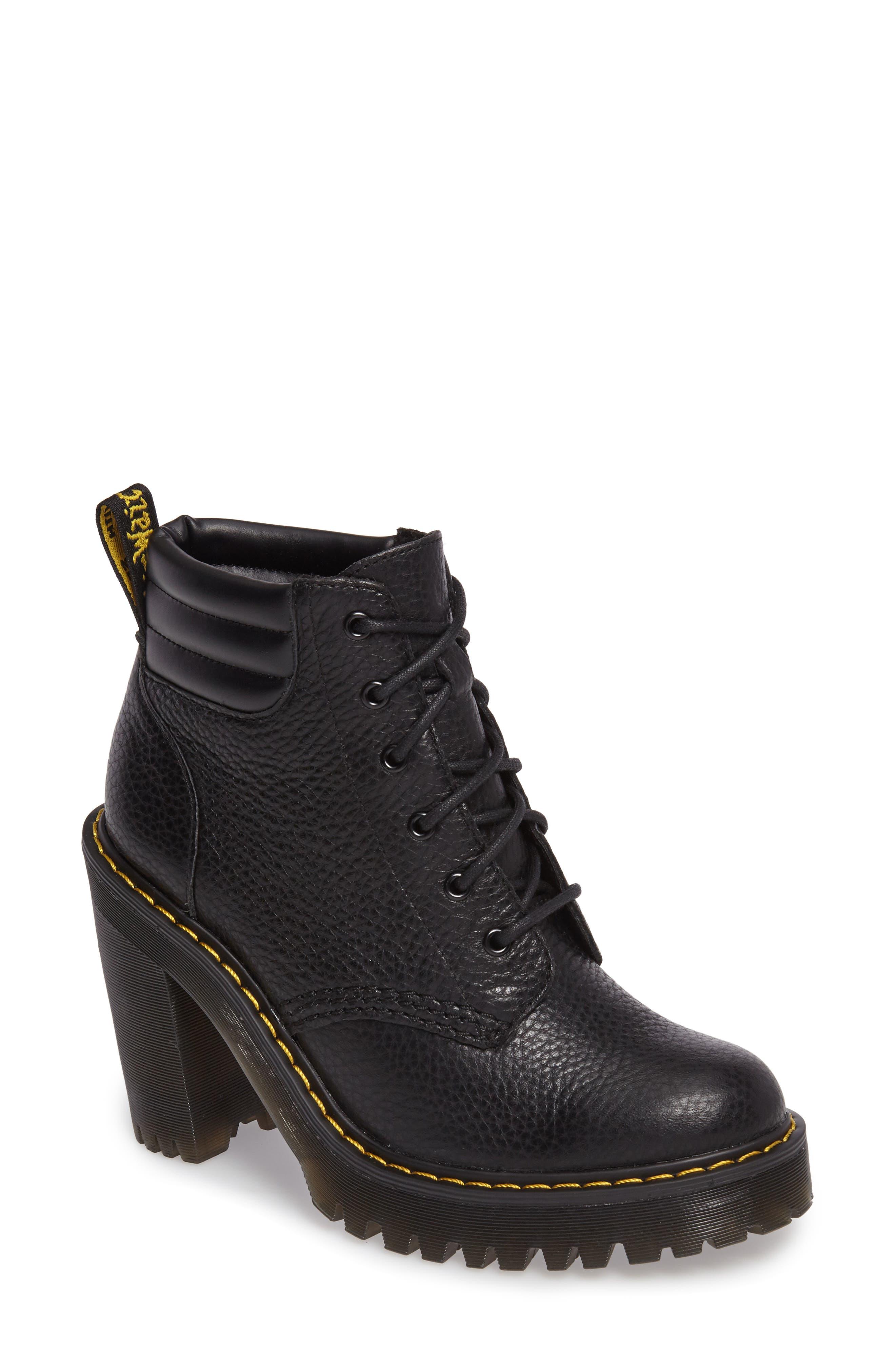 Persephone Platform Boot,                             Main thumbnail 1, color,                             Black Leather