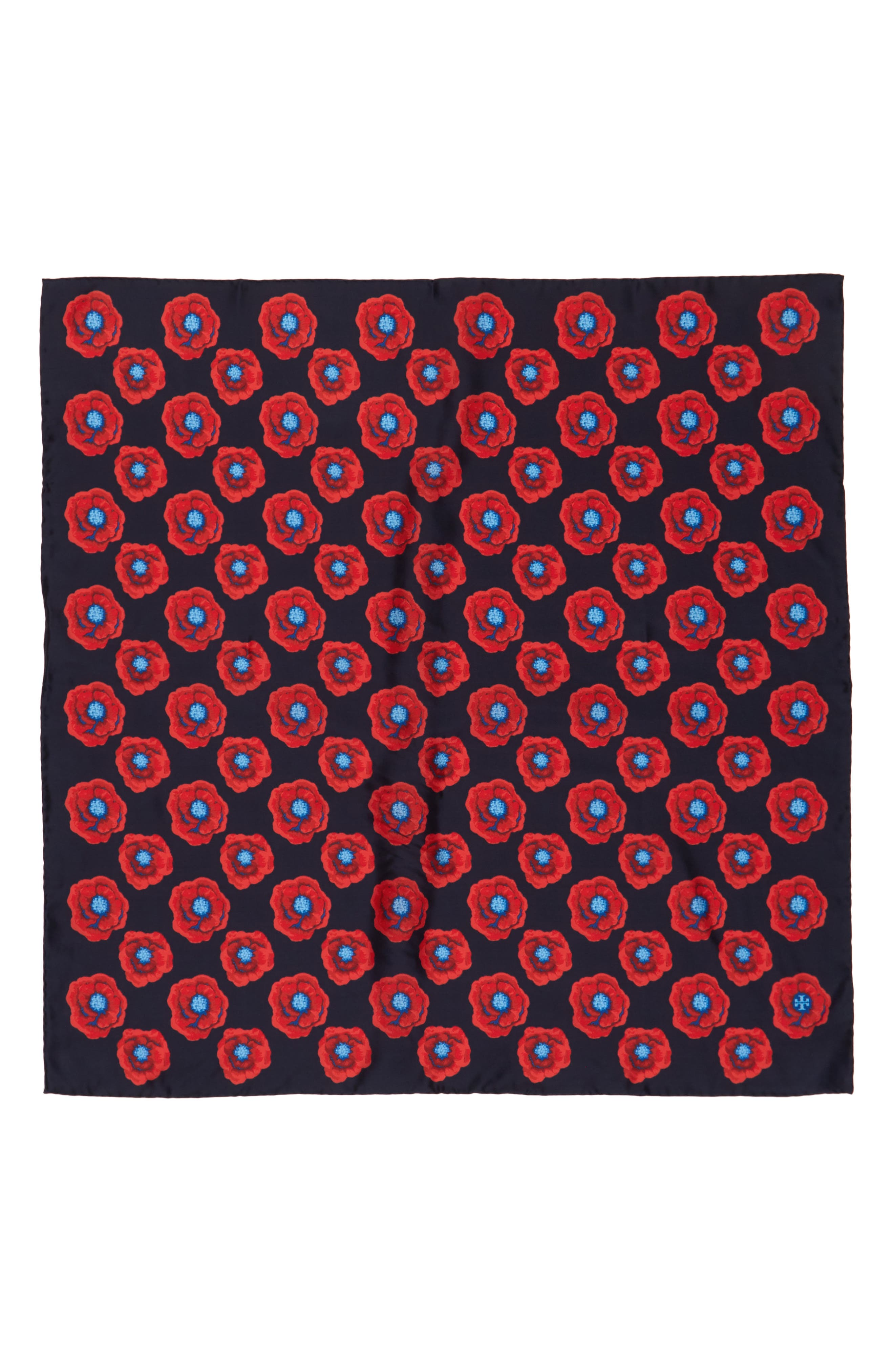 Poppy Silk Square Scarf,                             Alternate thumbnail 2, color,                             Tory Navy Floral