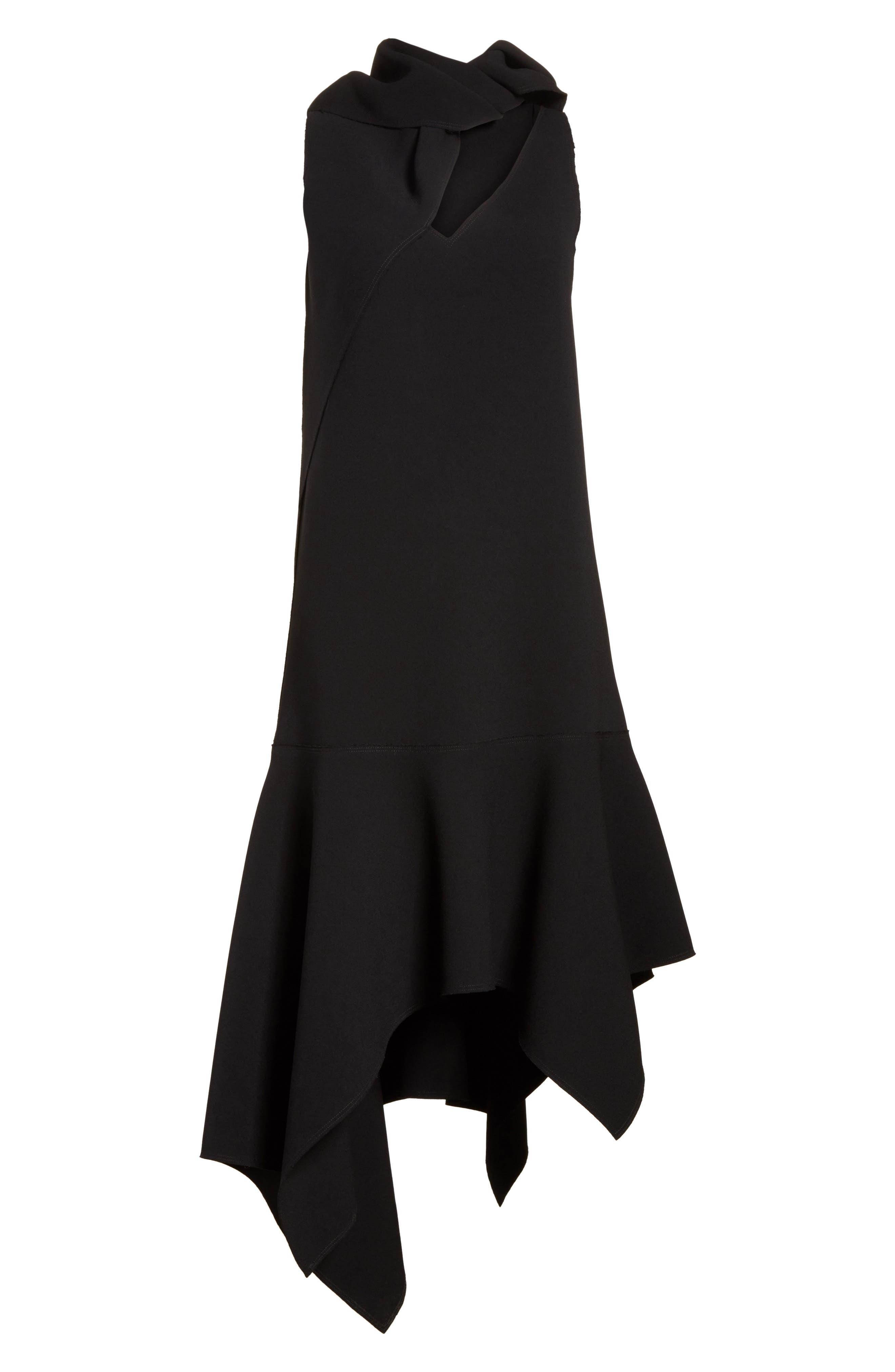 Knotted Neckline Drop Waist Dress,                             Alternate thumbnail 7, color,                             Black