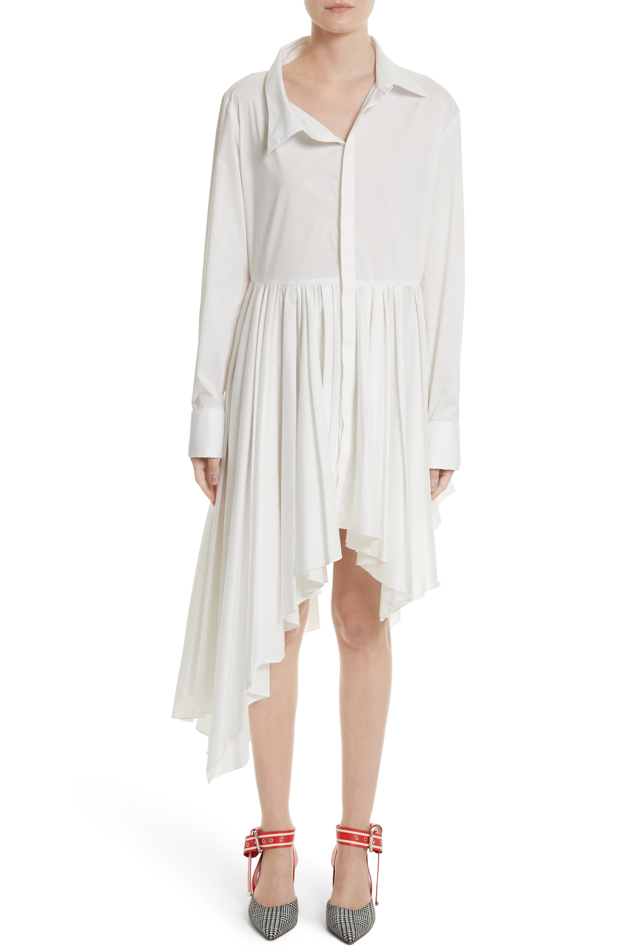 Pleated Asymmetrical Shirtdress,                             Alternate thumbnail 4, color,                             White