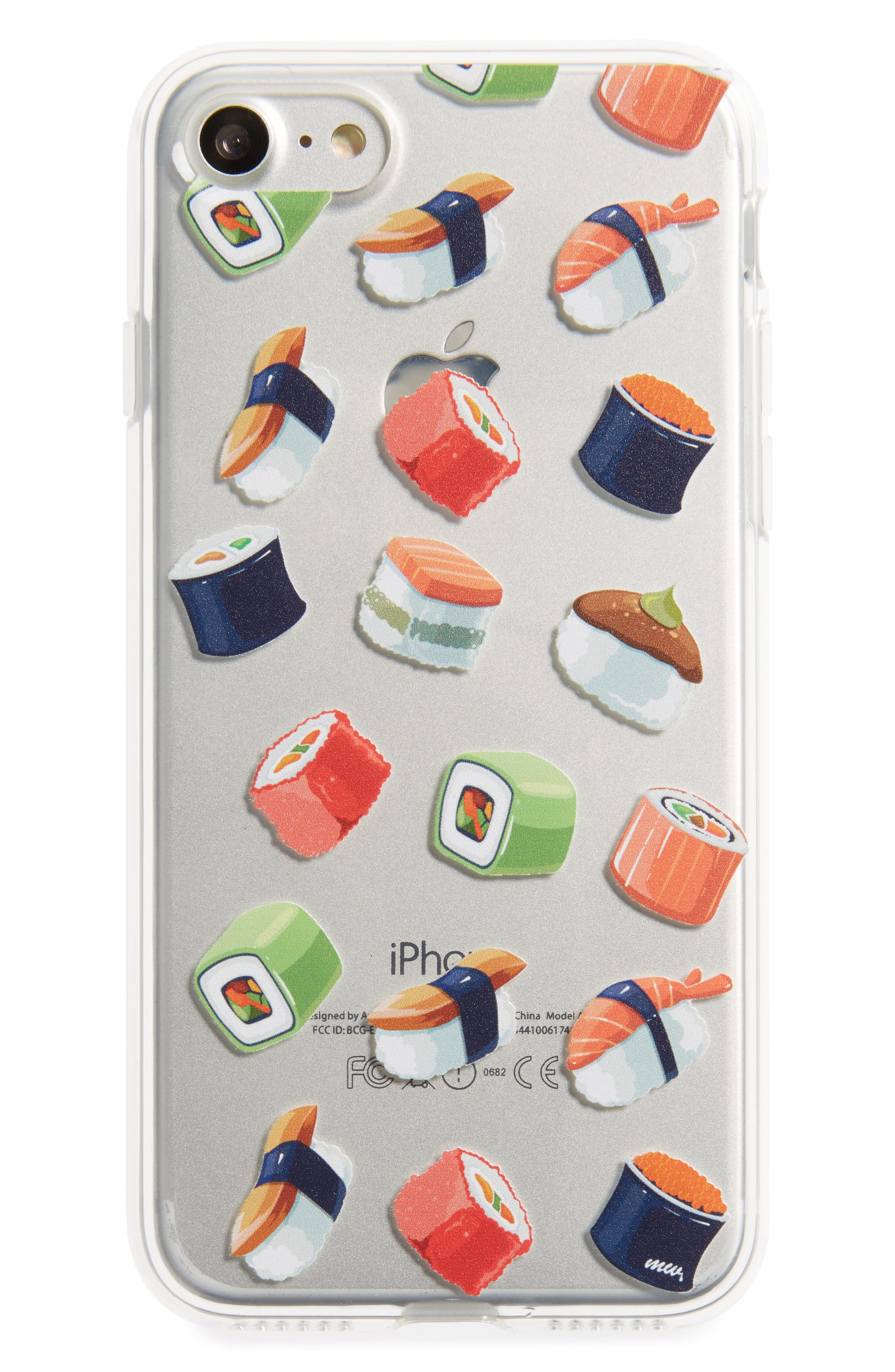 Sushi Lover iPhone 7 Case,                         Main,                         color, Clear/ Red
