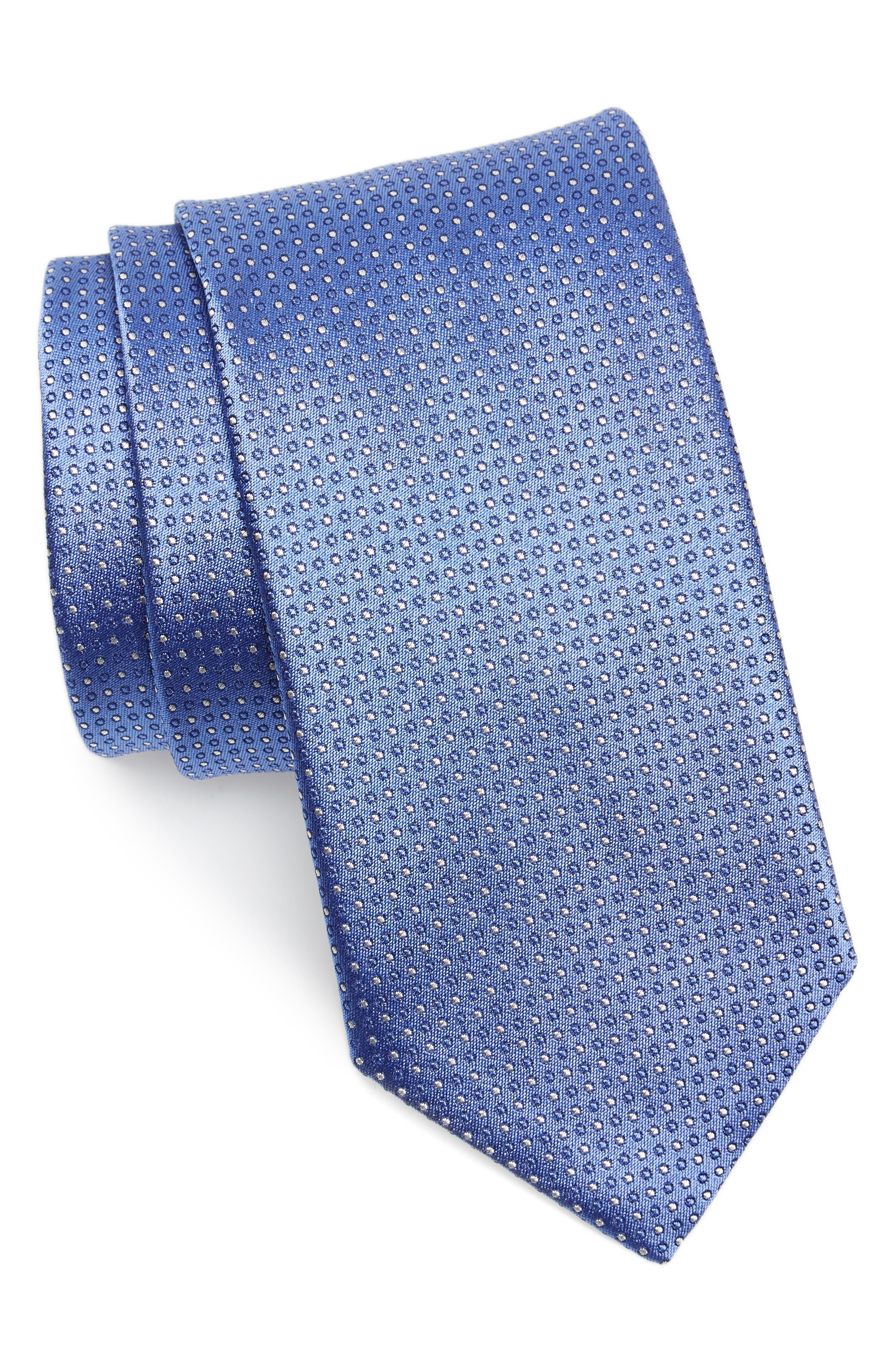Dot Silk Tie,                         Main,                         color, Light Blue