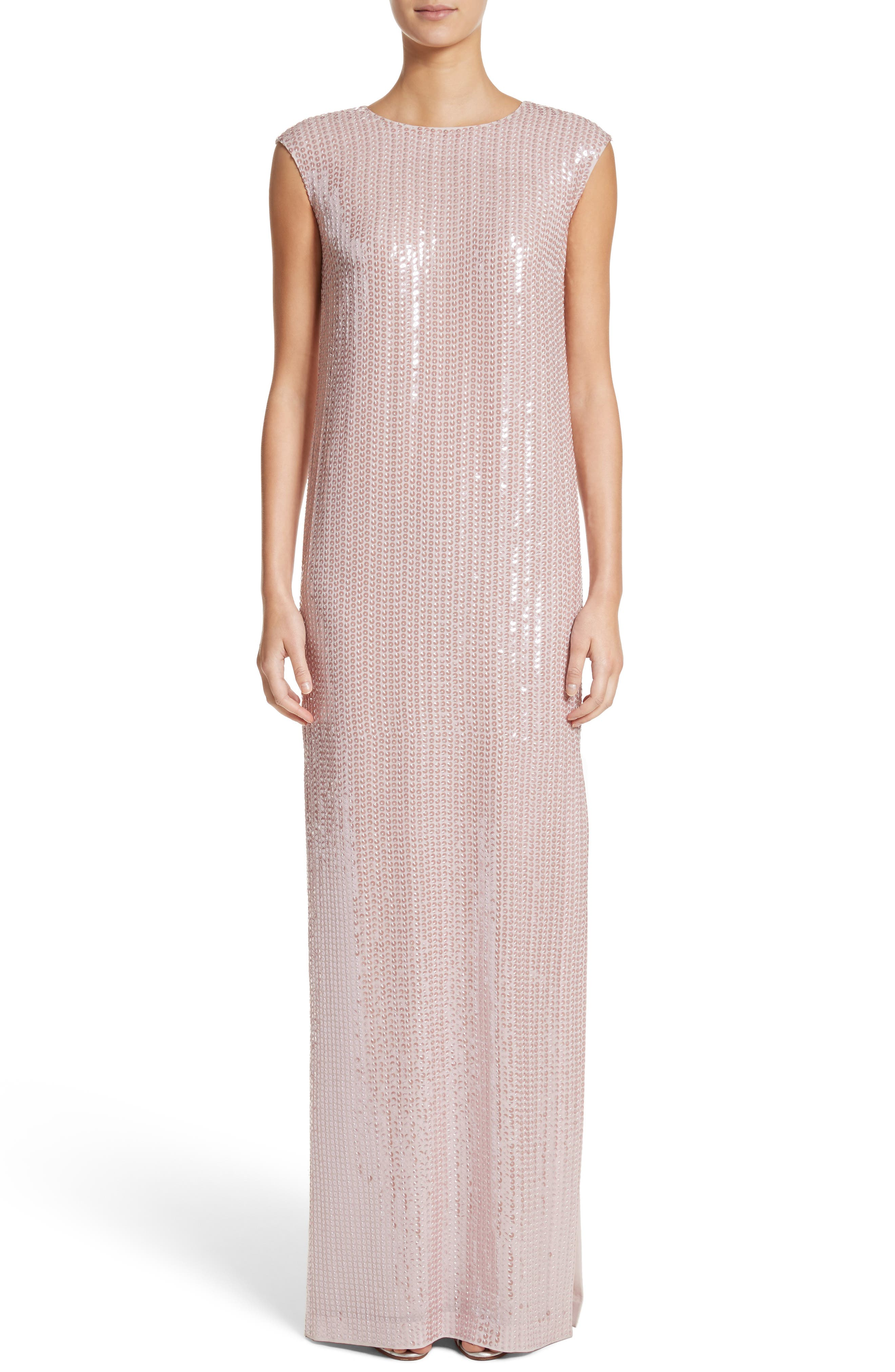 St. John Evening Sequin Silk Georgette Column Gown