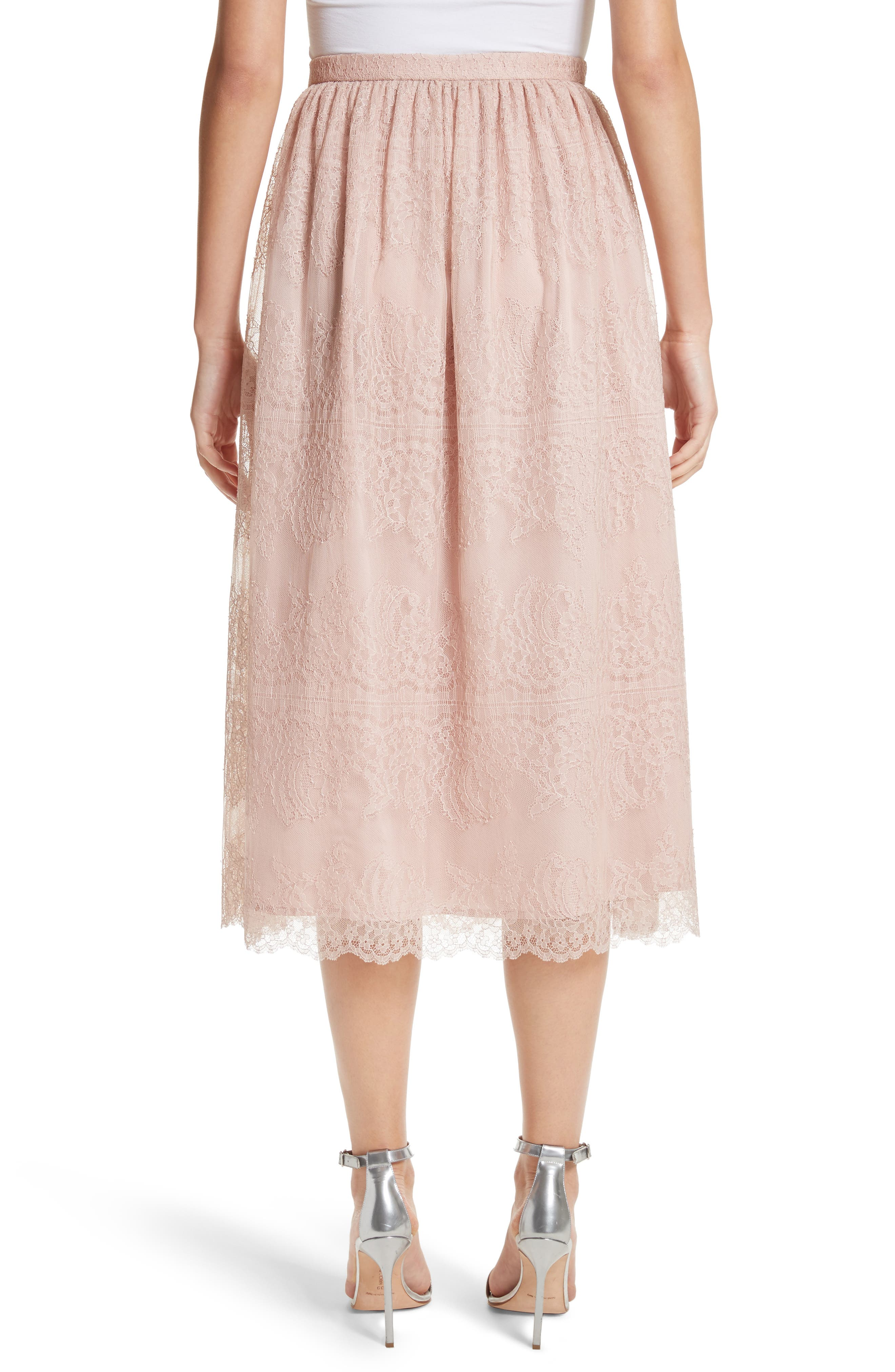 Chantilly Lace Gathered Skirt,                             Alternate thumbnail 2, color,                             Powder