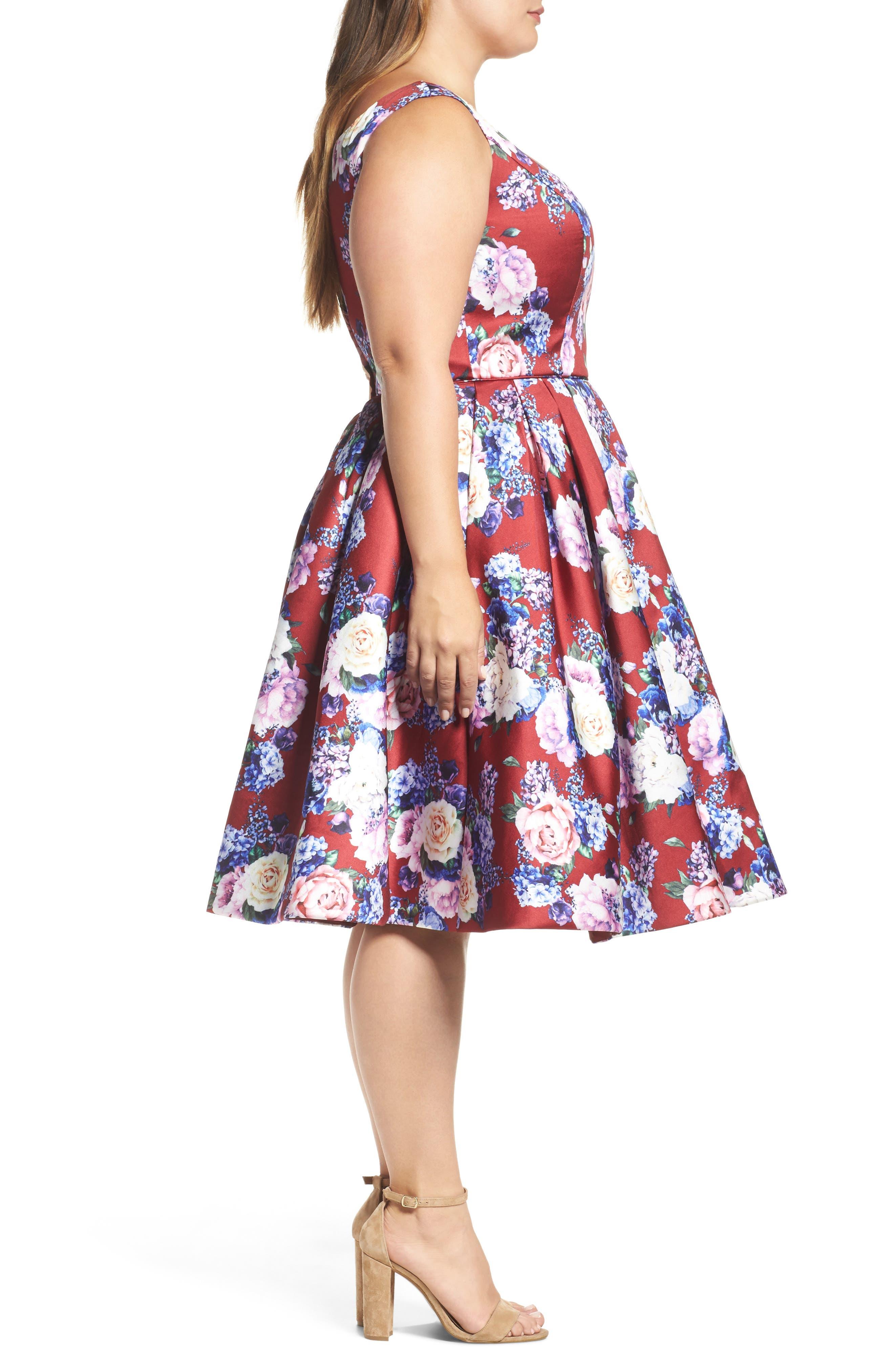 Floral Fit & Flare Dress,                             Alternate thumbnail 3, color,                             Burgundy/ Multi