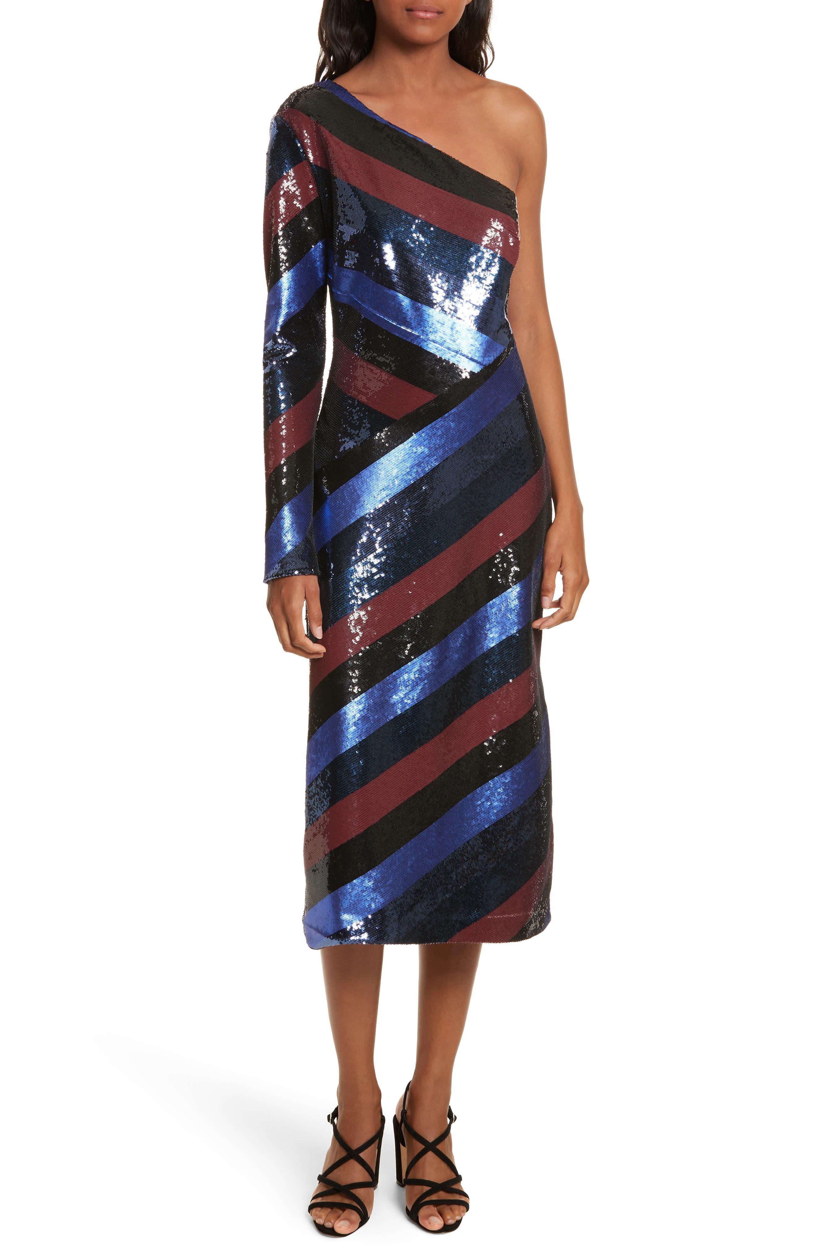 One-Shoulder Sequin Stripe Dress,                             Main thumbnail 1, color,                             Electric Blue Multi