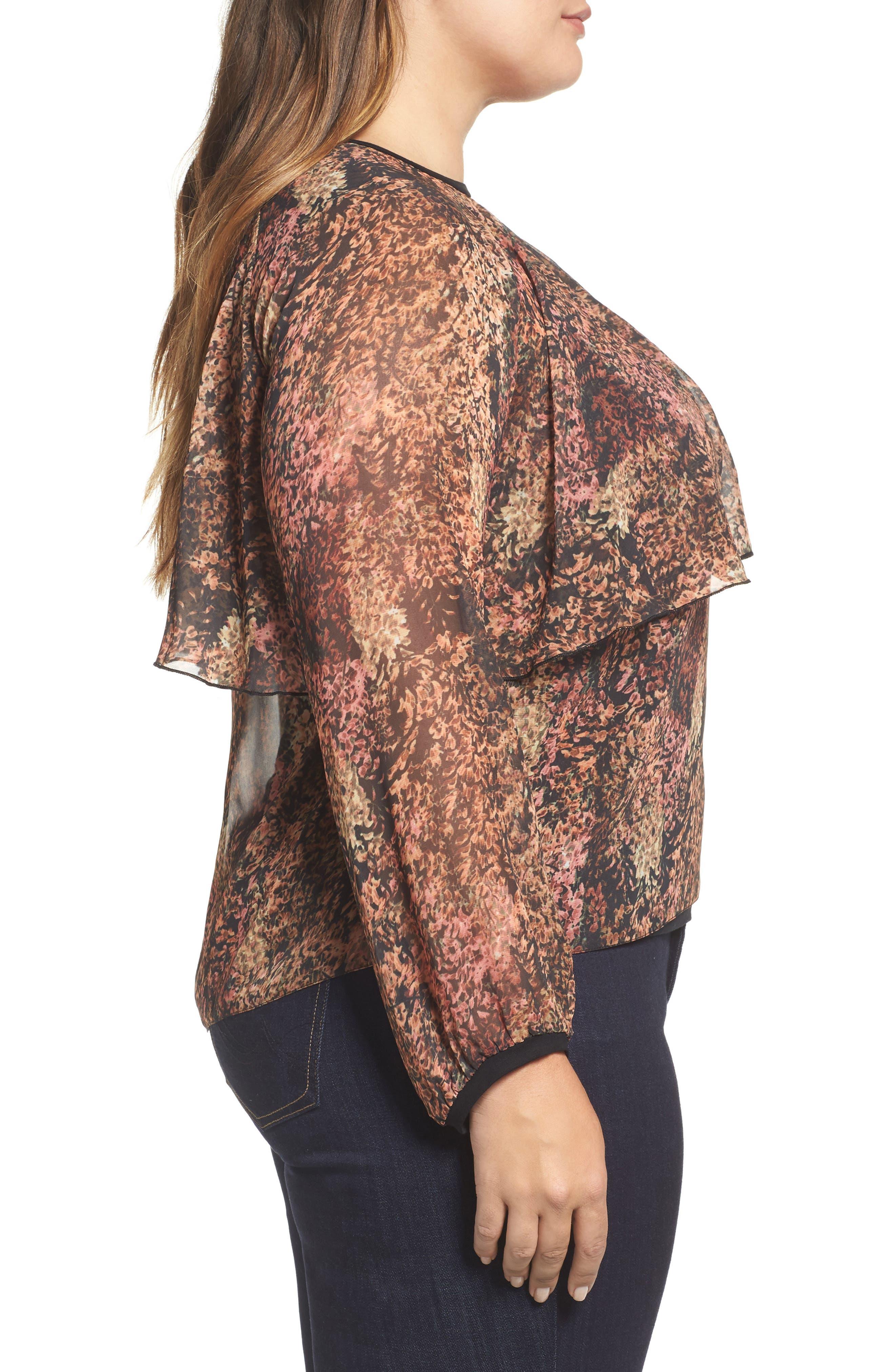 Alternate Image 3  - ELVI Floral Popover Drape Top (Plus Size)