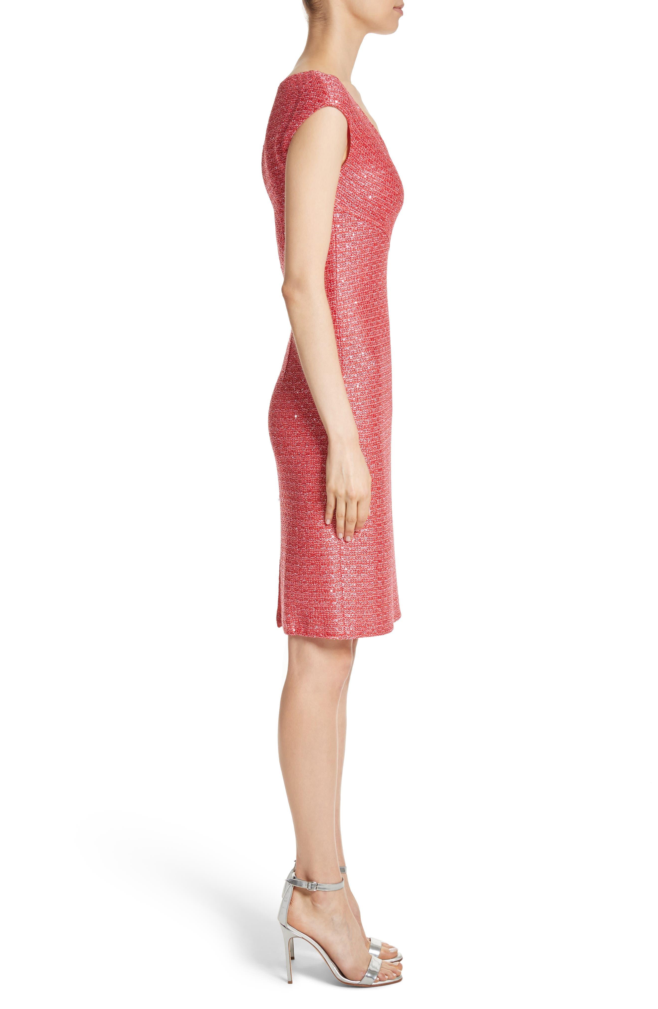 Hansh Knit Dress,                             Alternate thumbnail 3, color,                             Coral Multi