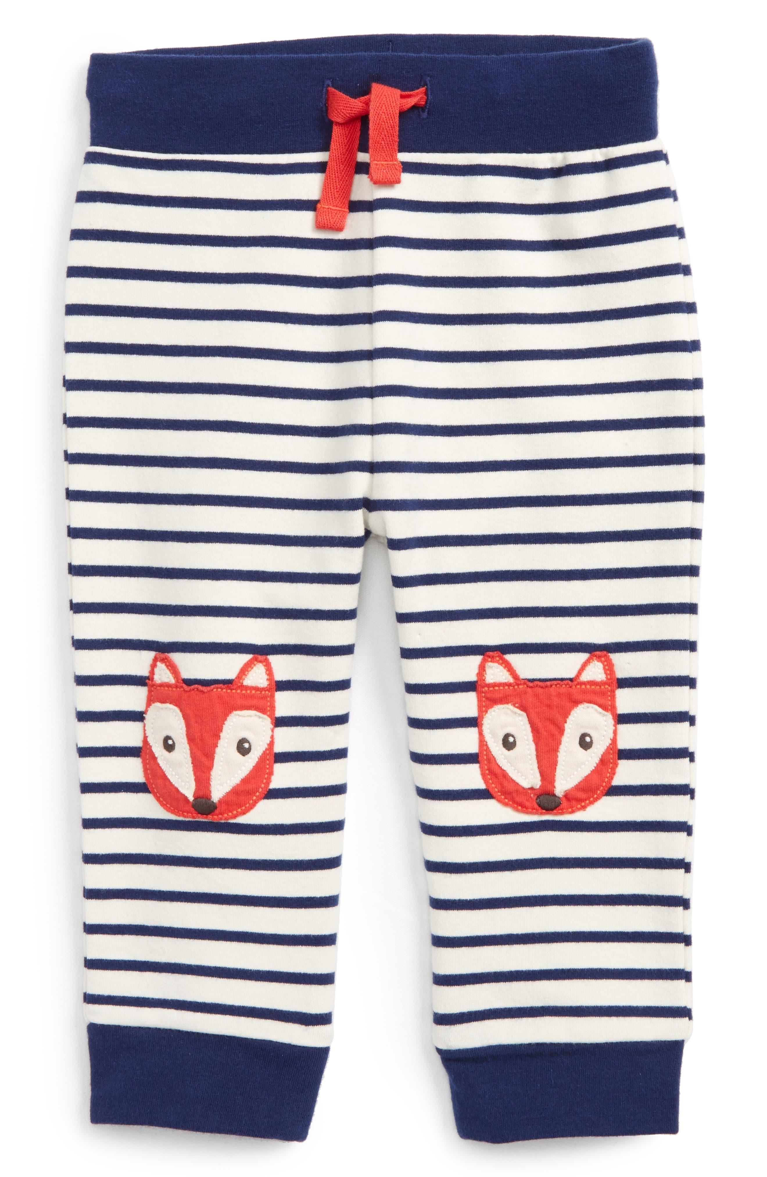 Fun Fox Appliqué Pants,                         Main,                         color, Ecru/ Beacon Blue Fox