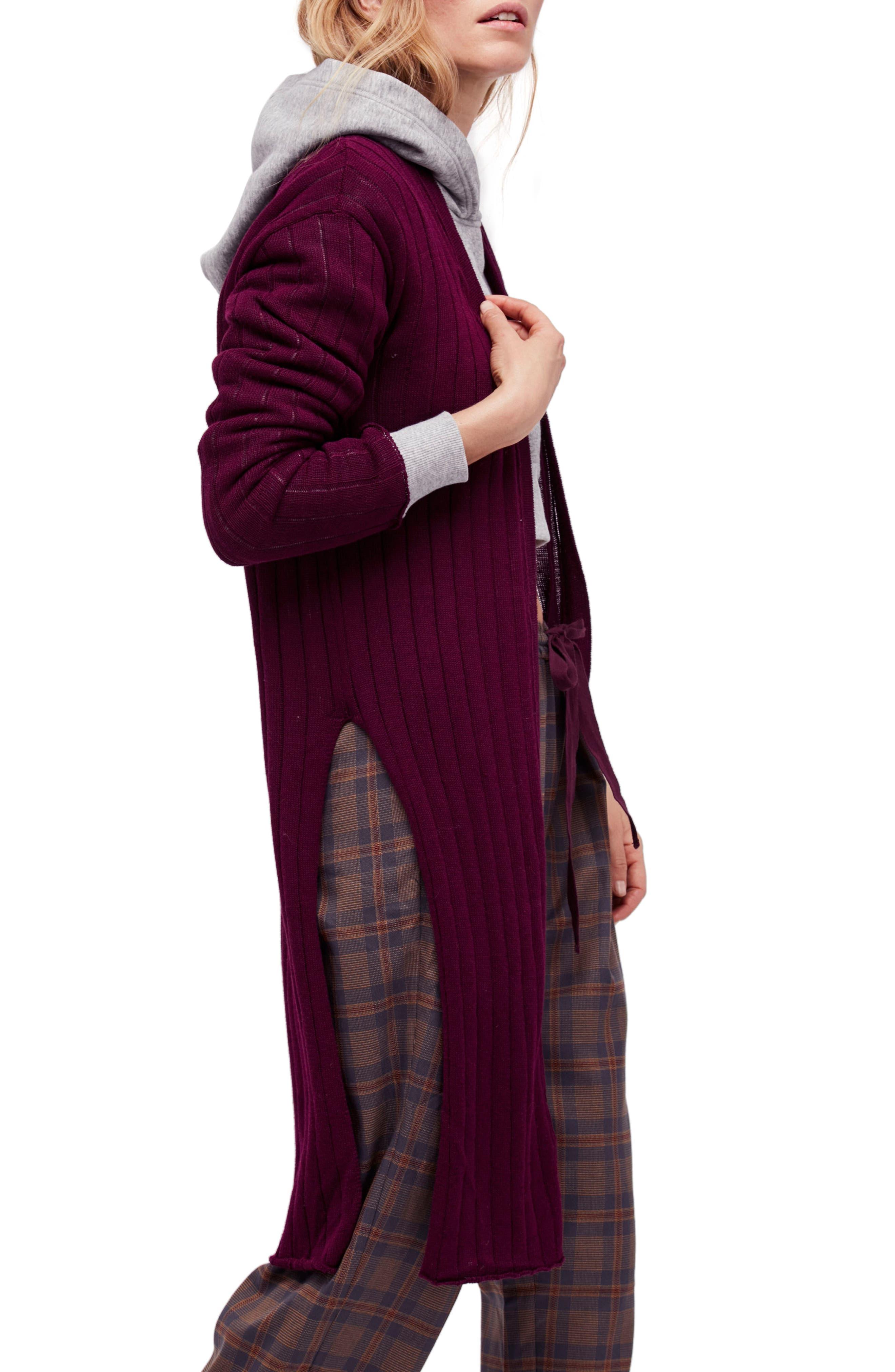 Ribby Long Cardigan,                         Main,                         color, Wine