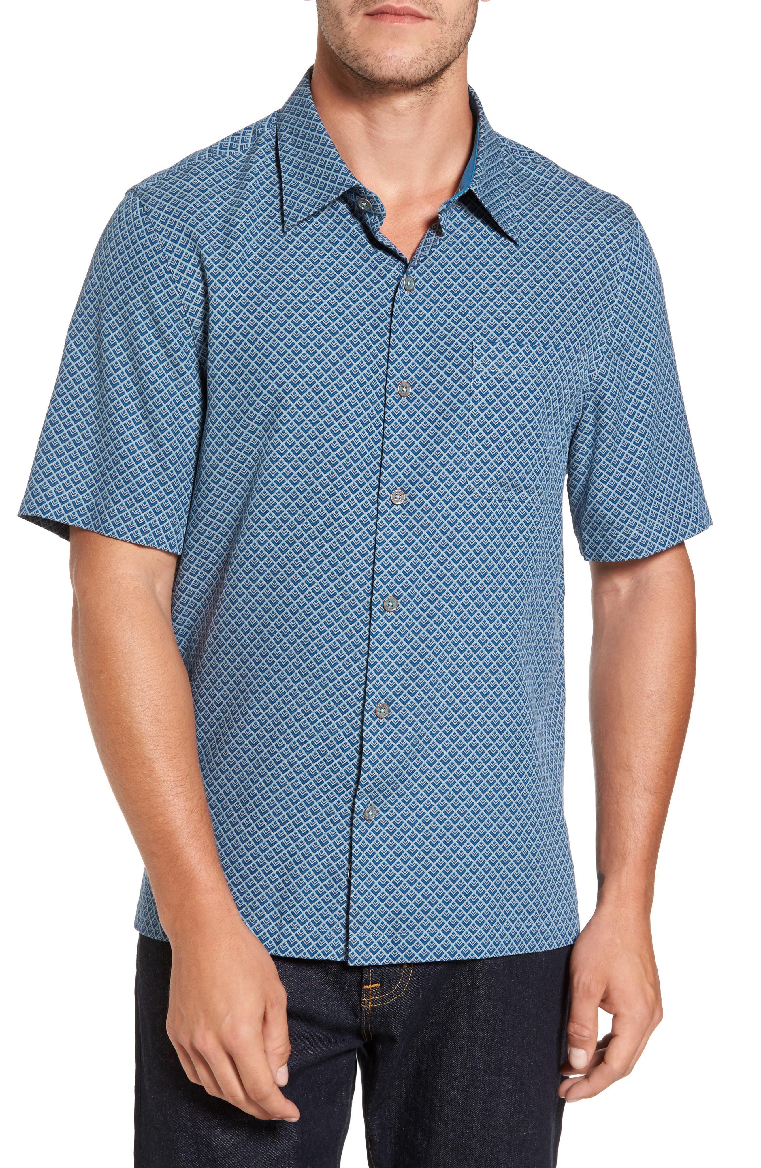 Ajax Classic Fit Silk Blend Camp Shirt,                         Main,                         color, Mont Blanc Grey