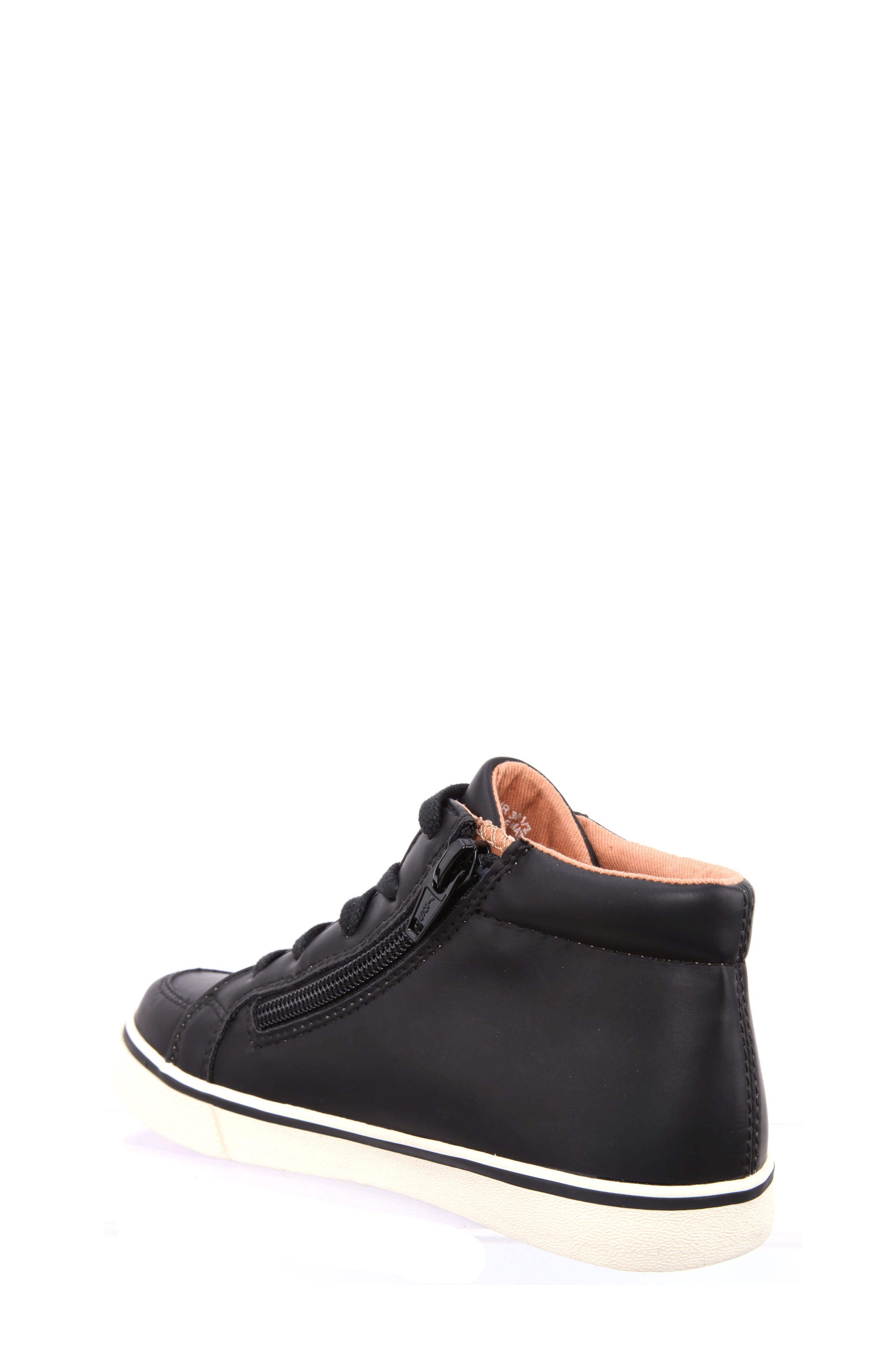 Miguel Stripe Mid Top Sneaker,                             Alternate thumbnail 2, color,                             Black Smooth Matte