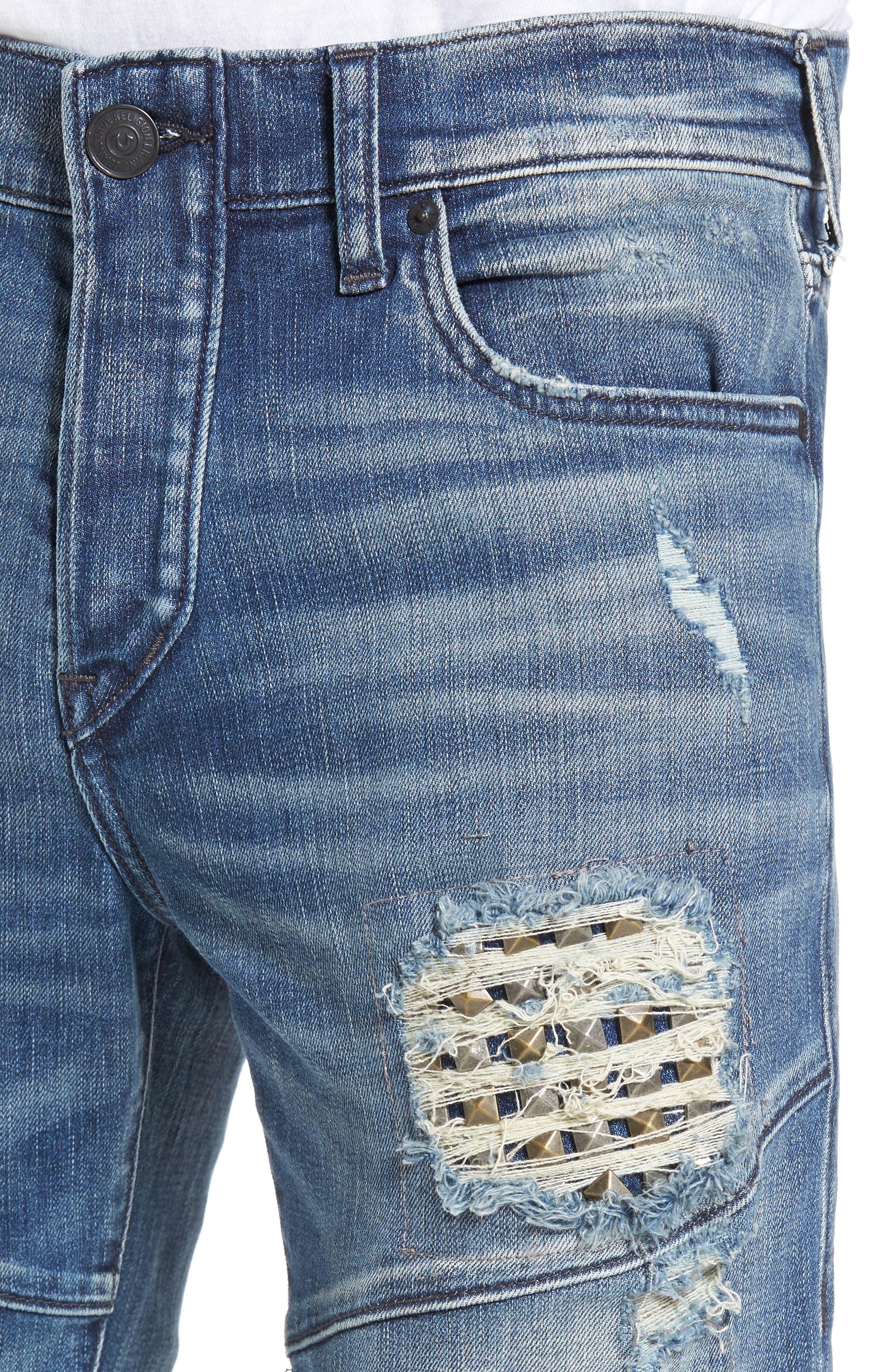 Alternate Image 4  - True Religion Brand Jeans Rocco Skinny Fit Jeans (Indigo Clutch)
