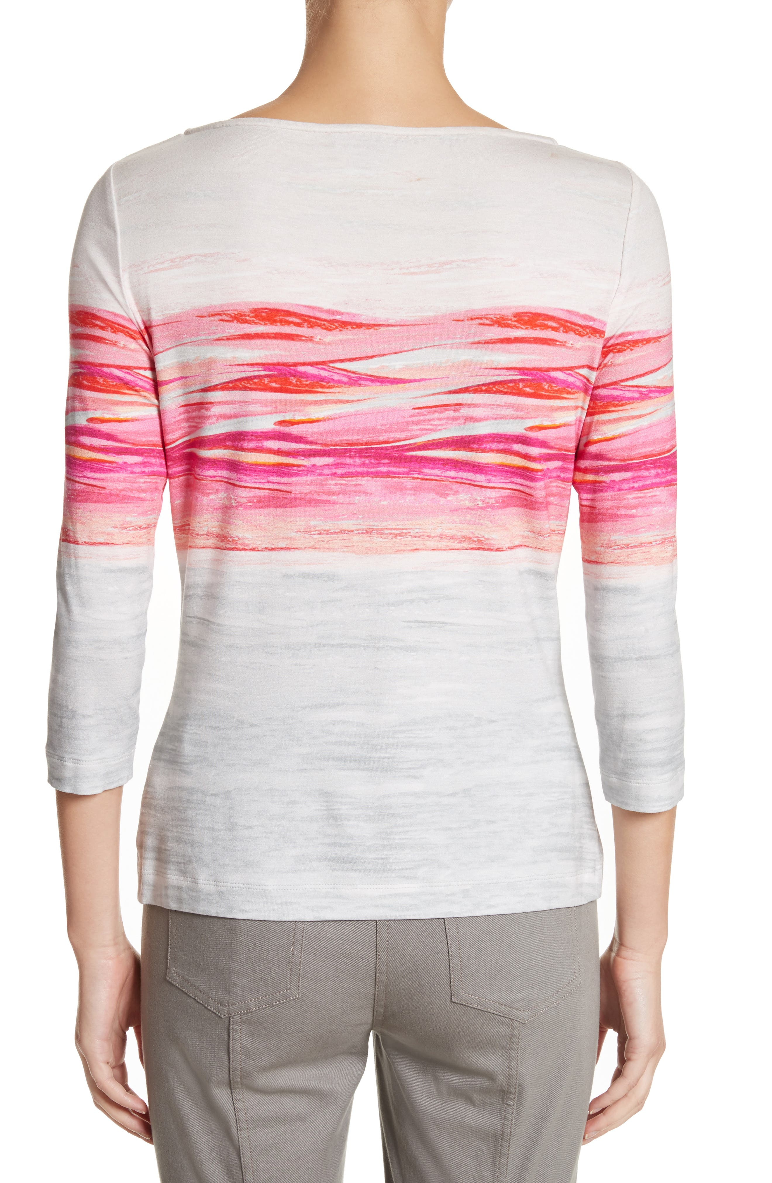 Textured Brushstroke Print Jersey Top,                             Alternate thumbnail 2, color,                             Bright Coral Multi