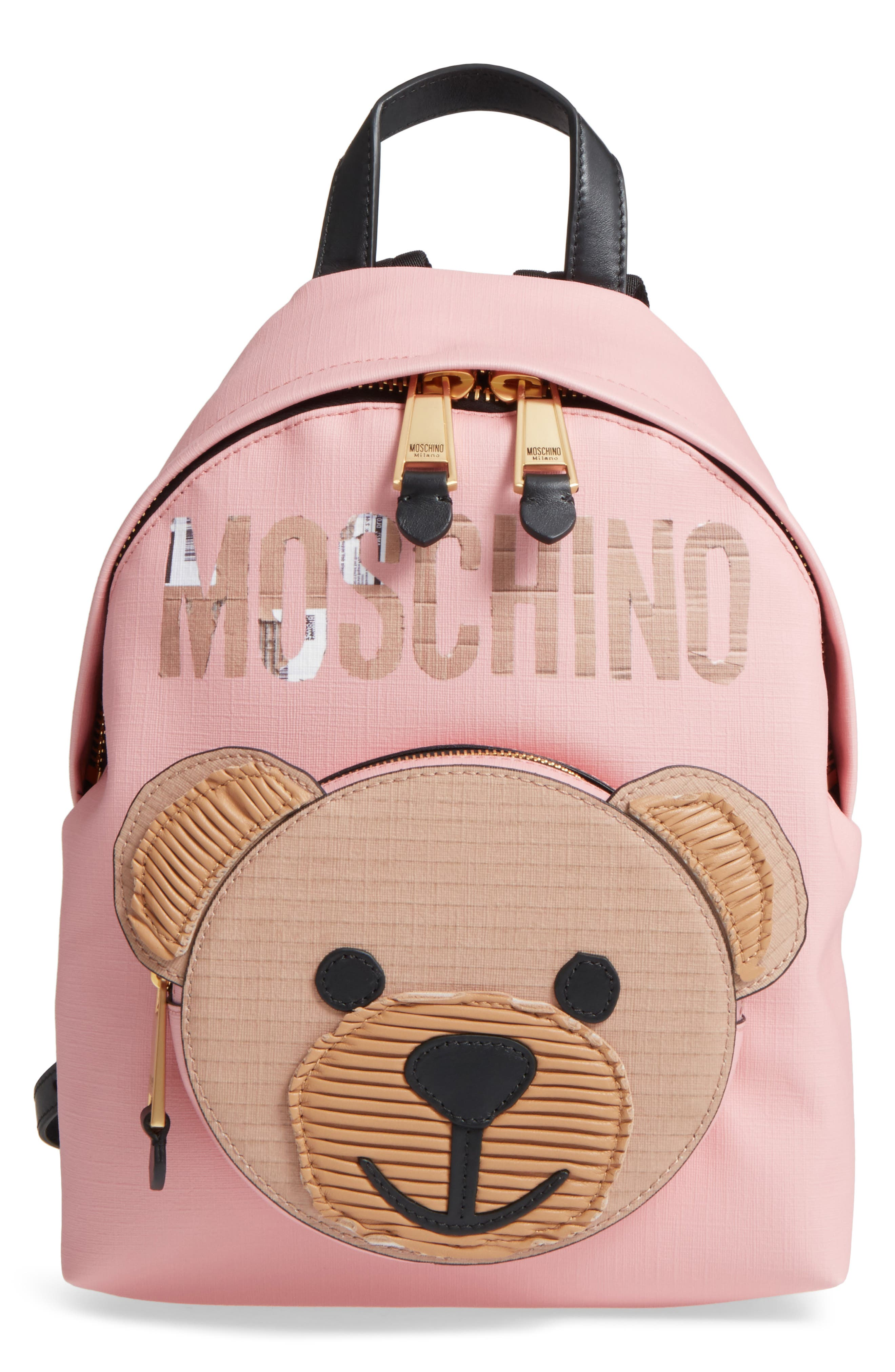Cardboard Bear Leather Backpack,                             Main thumbnail 1, color,                             Pink/ Black