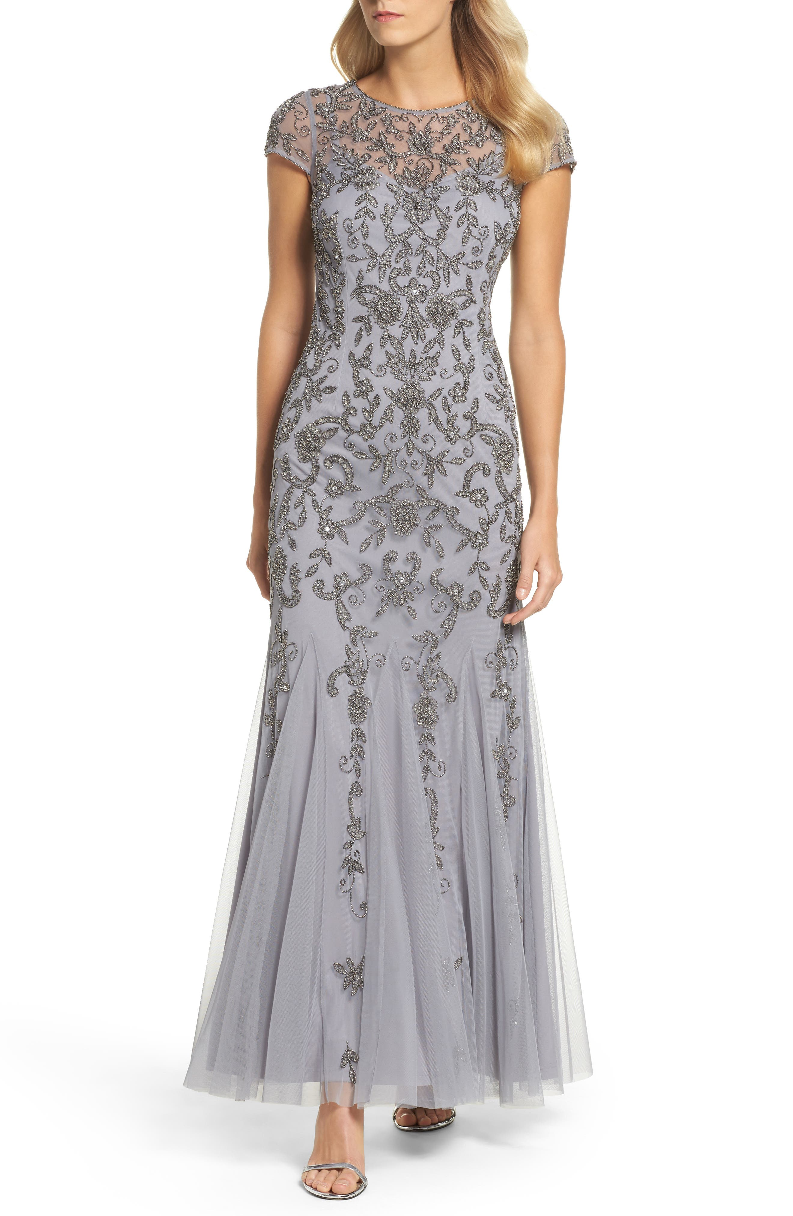 Adrianna Papell Beaded Godet Trumpet Gown