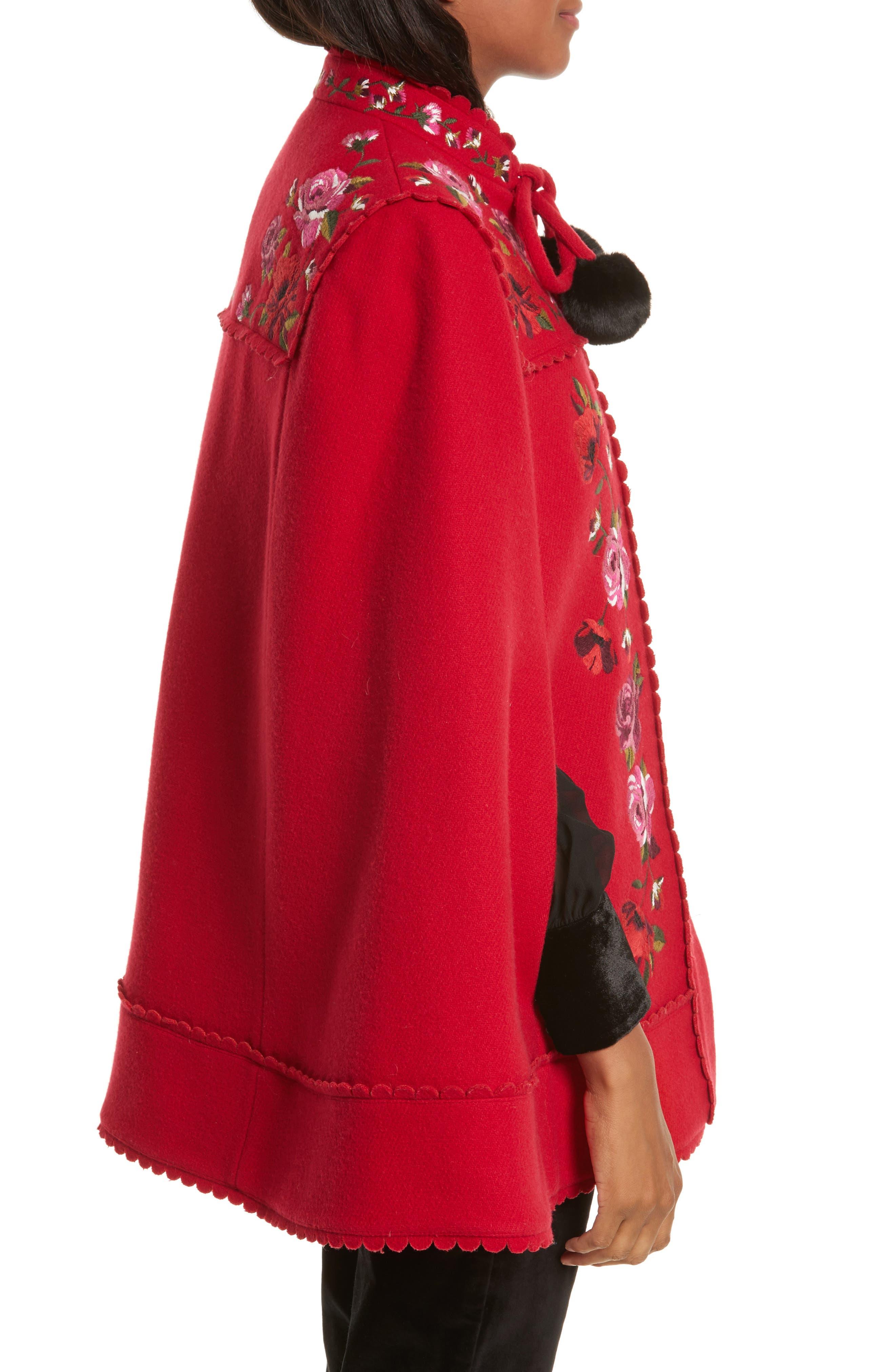 mari wool blend cape,                             Alternate thumbnail 3, color,                             Charm Red