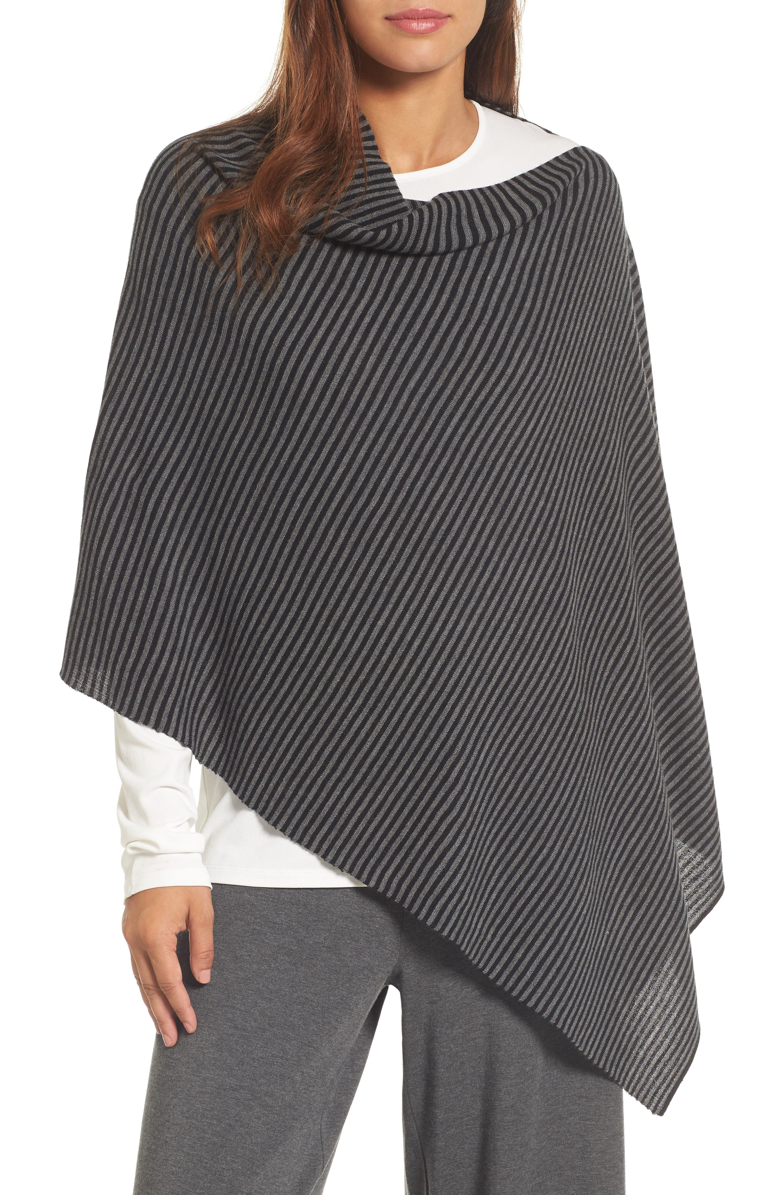 Eileen Fisher Stripe Merino Wool Poncho