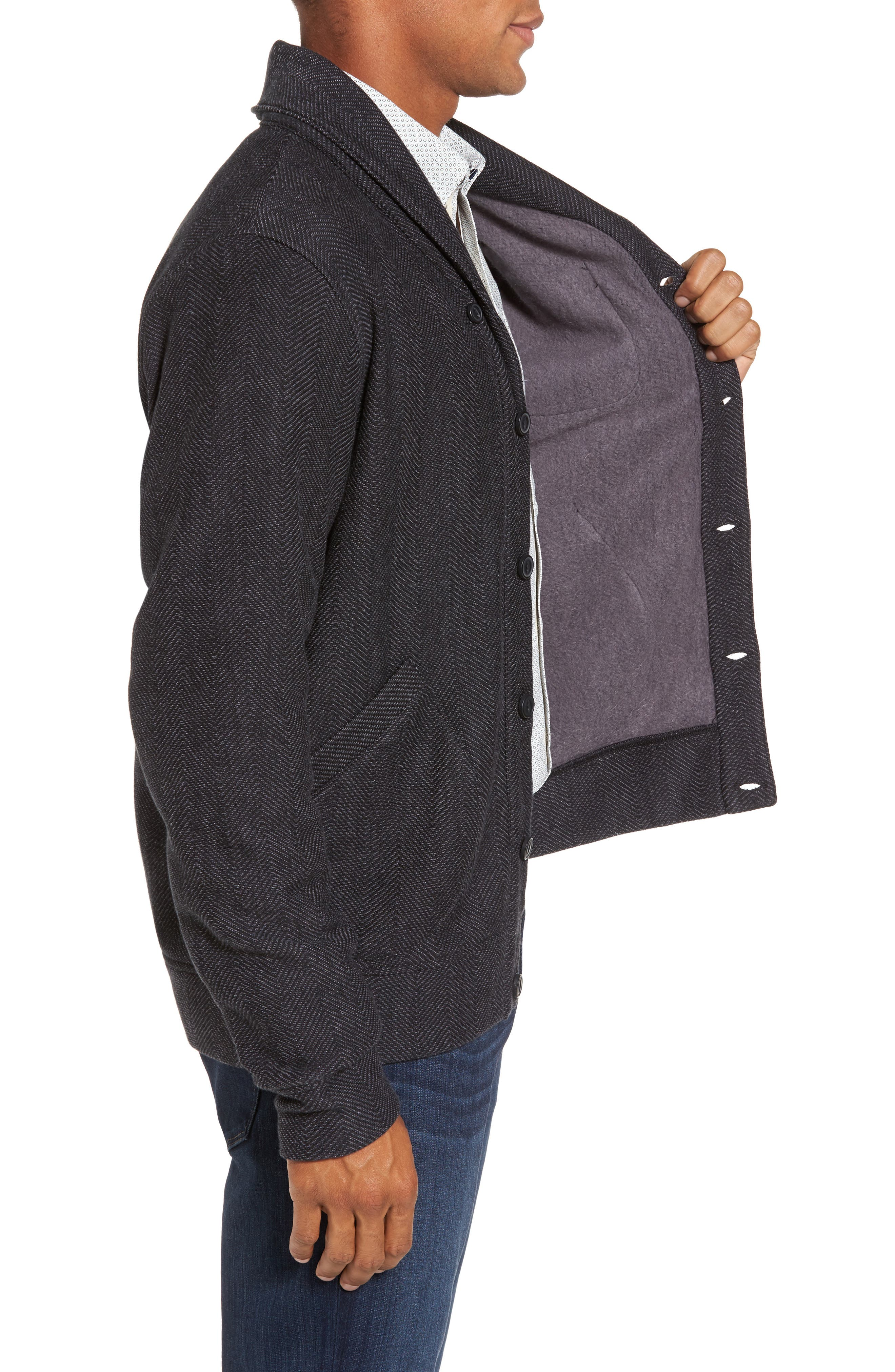 Fleece Lined Shawl Collar Cardigan,                             Alternate thumbnail 3, color,                             Grey Phantom Herringbone