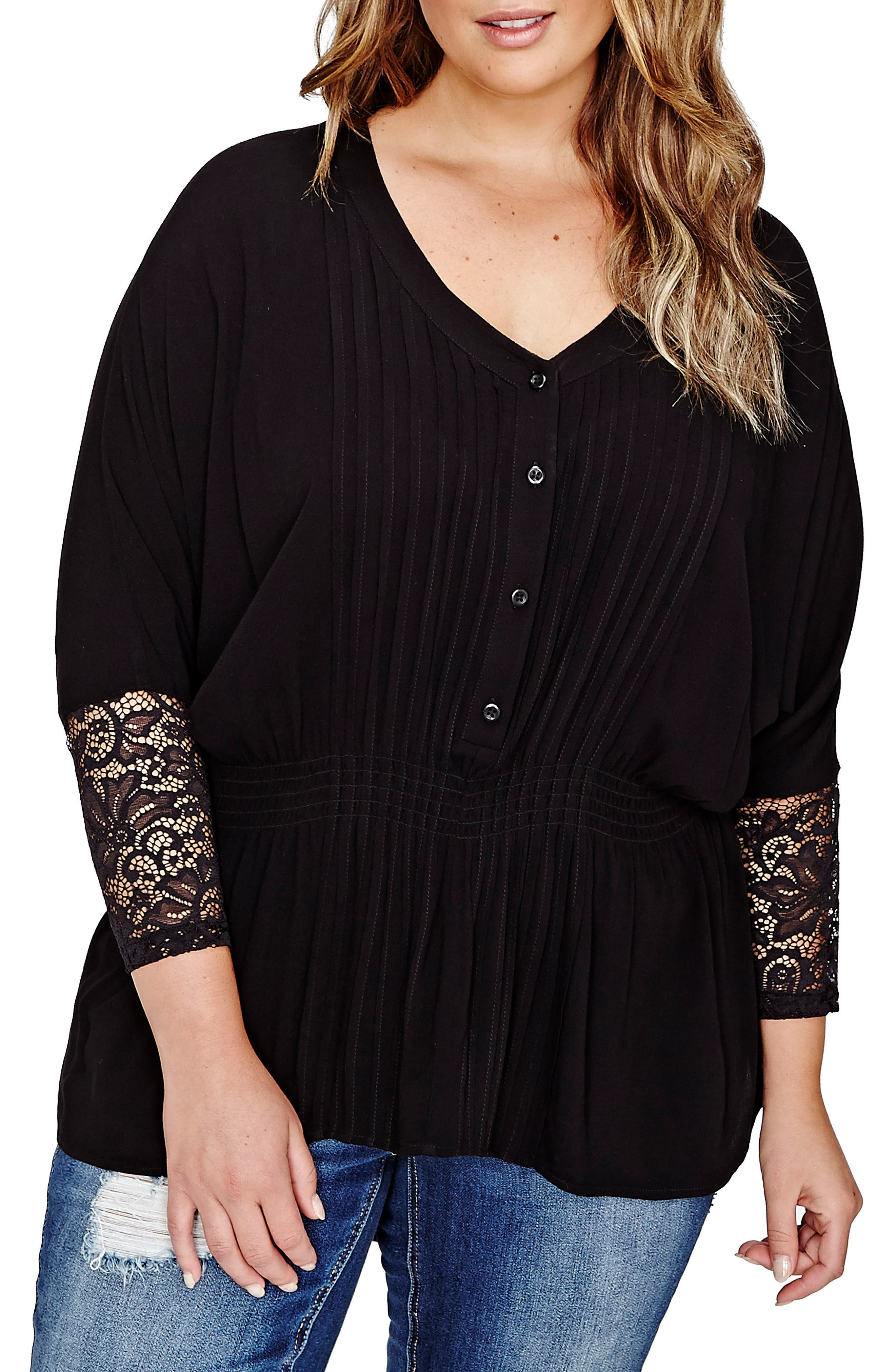 ADDITION ELLE LOVE AND LEGEND Pleated High/Low Dolman Blouse (Plus Size)