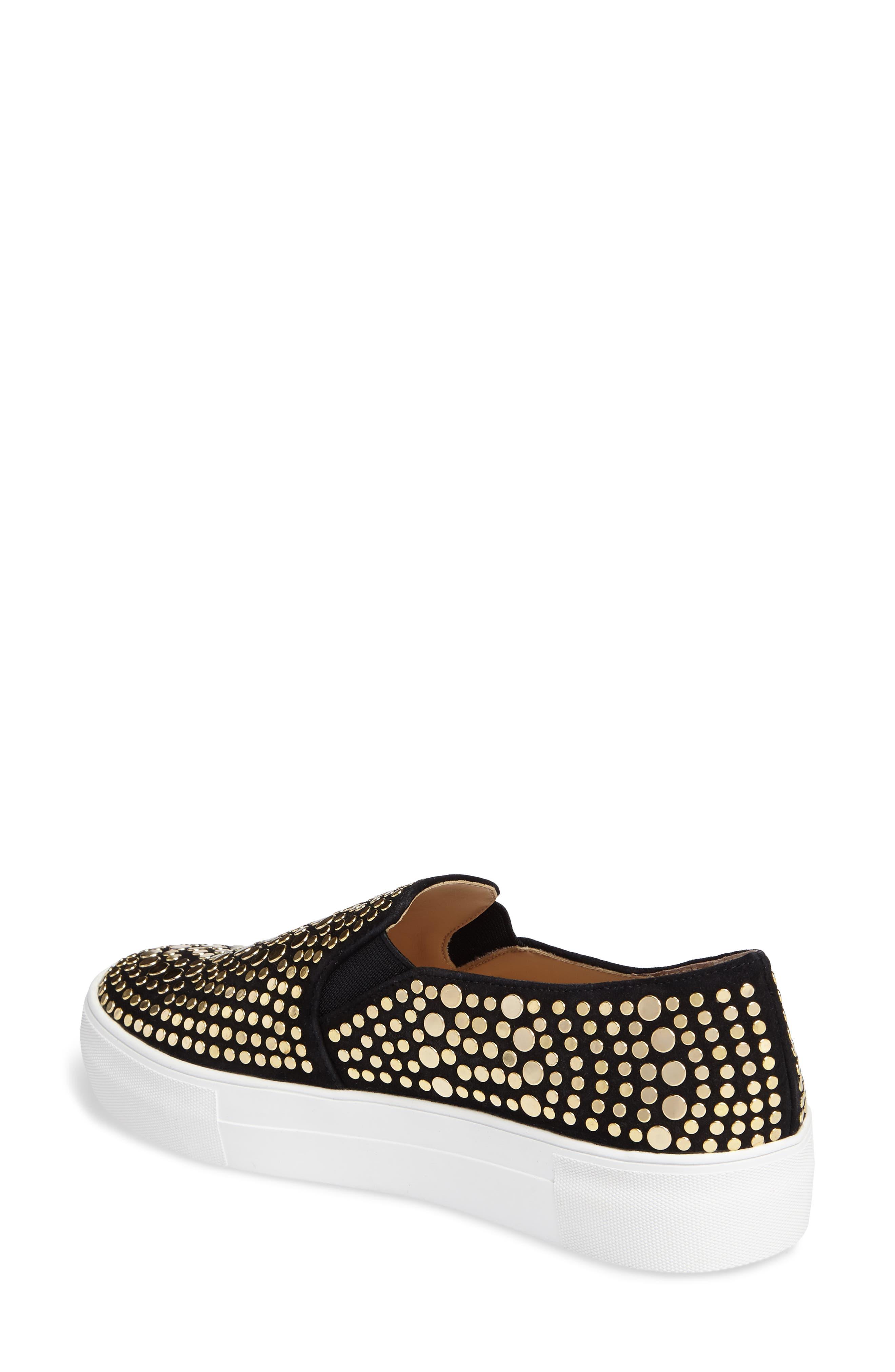 Kindra Stud Slip-On Sneaker,                             Alternate thumbnail 2, color,                             Black Suede