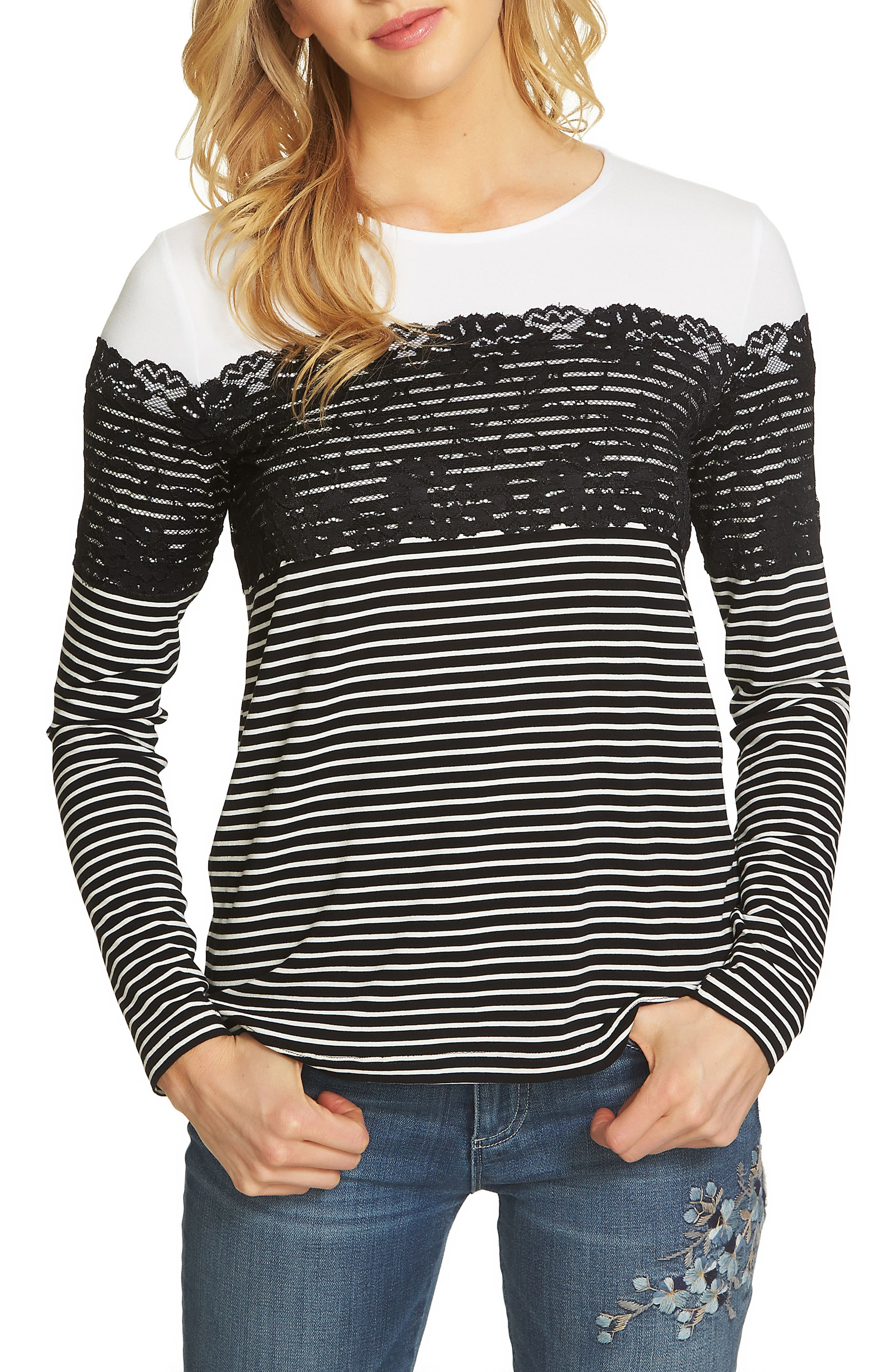 Lacy Striped Top,                             Main thumbnail 1, color,                             Rich Black