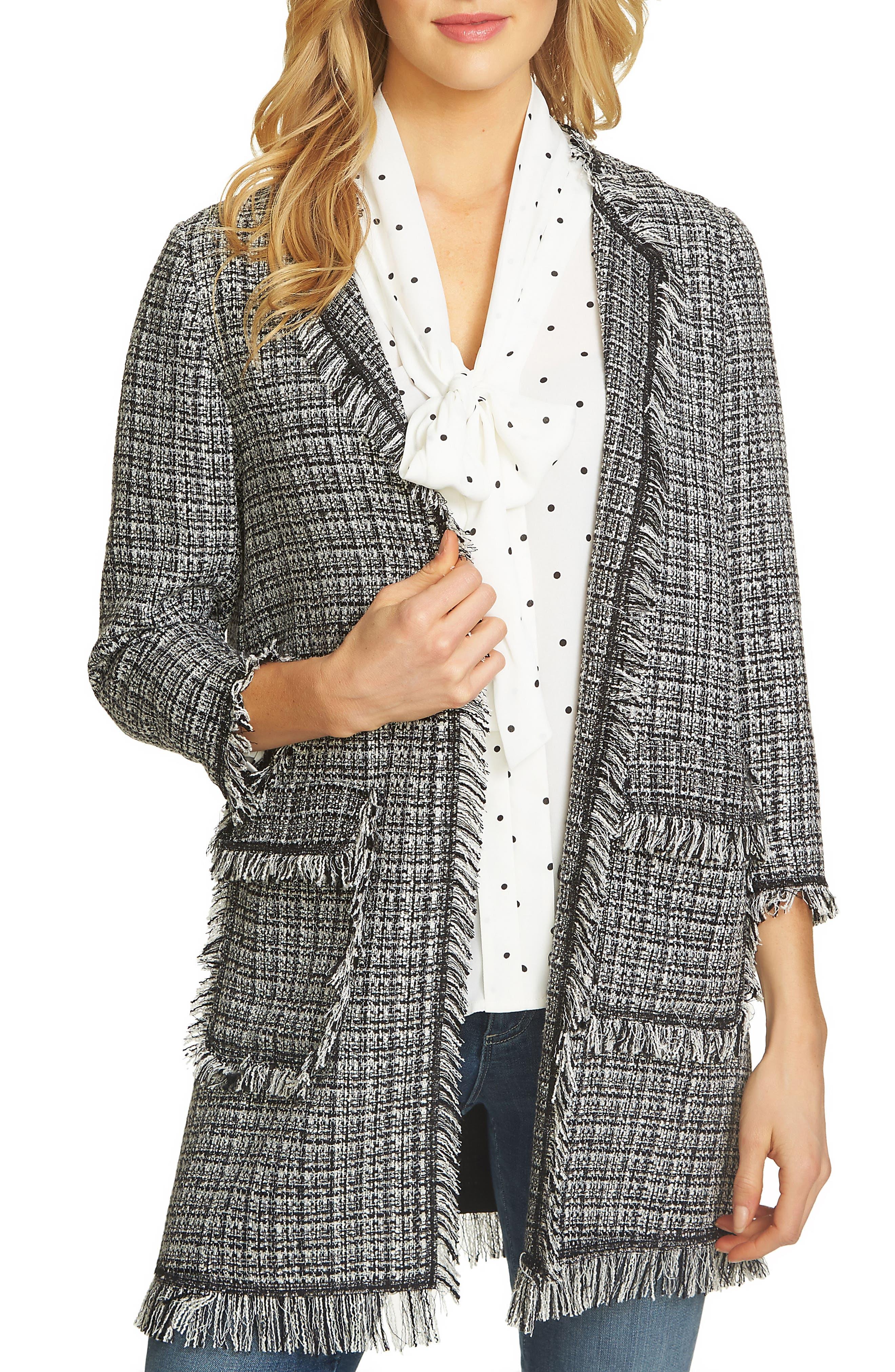 CeCe Frayed Tweed Jacket