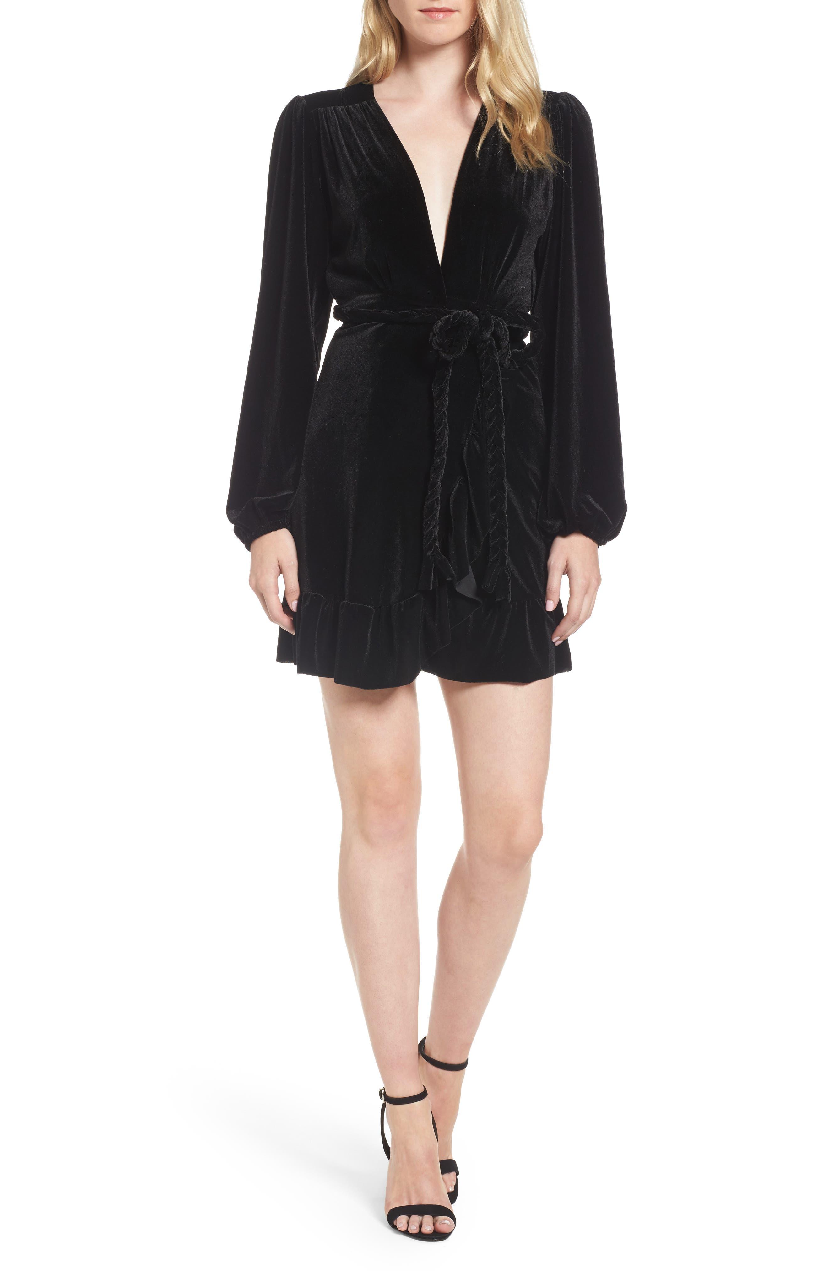 Agne Velvet Wrap Dress,                         Main,                         color, Jet Black