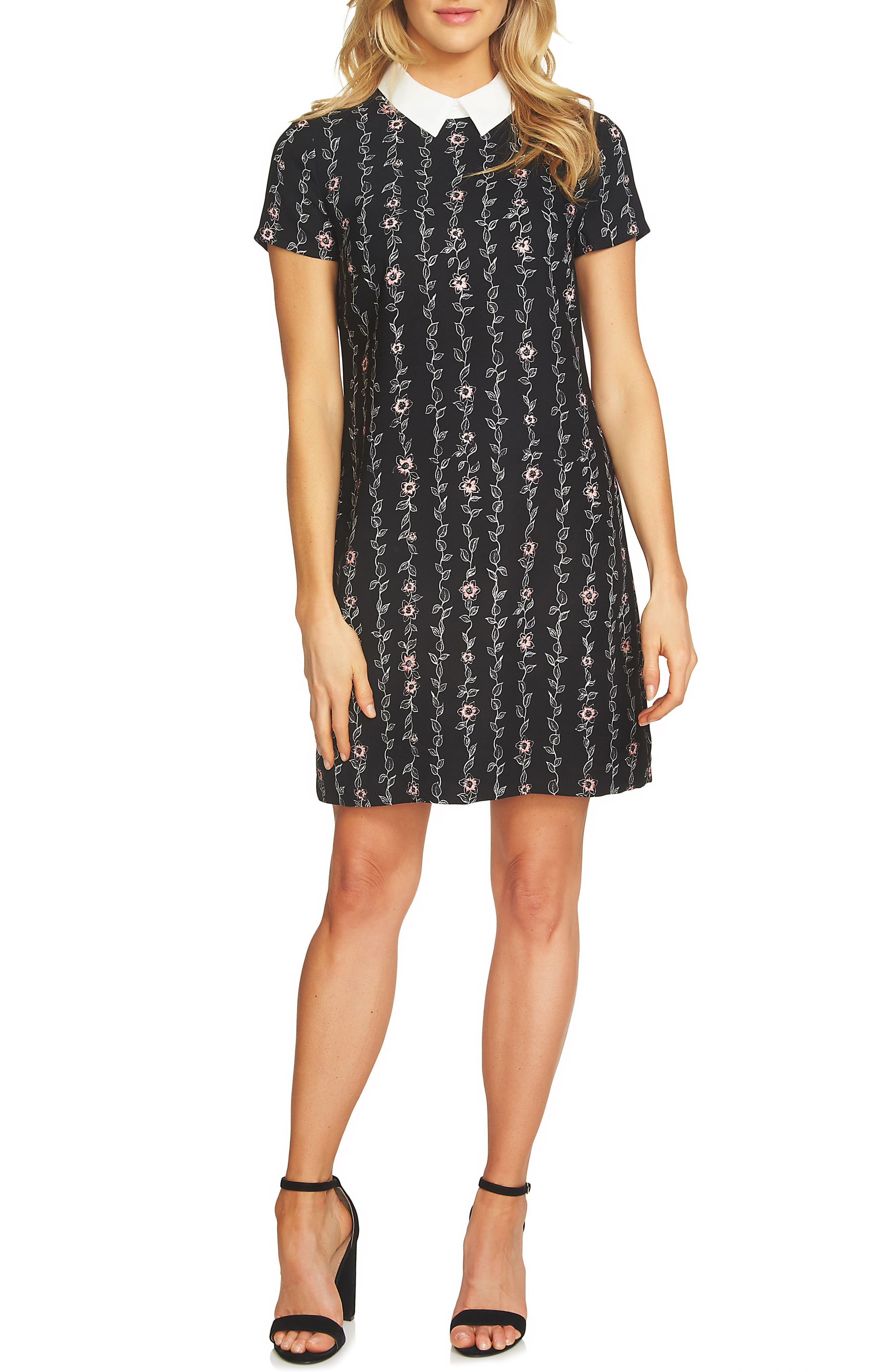 CeCe Floral Collared Shift Dress