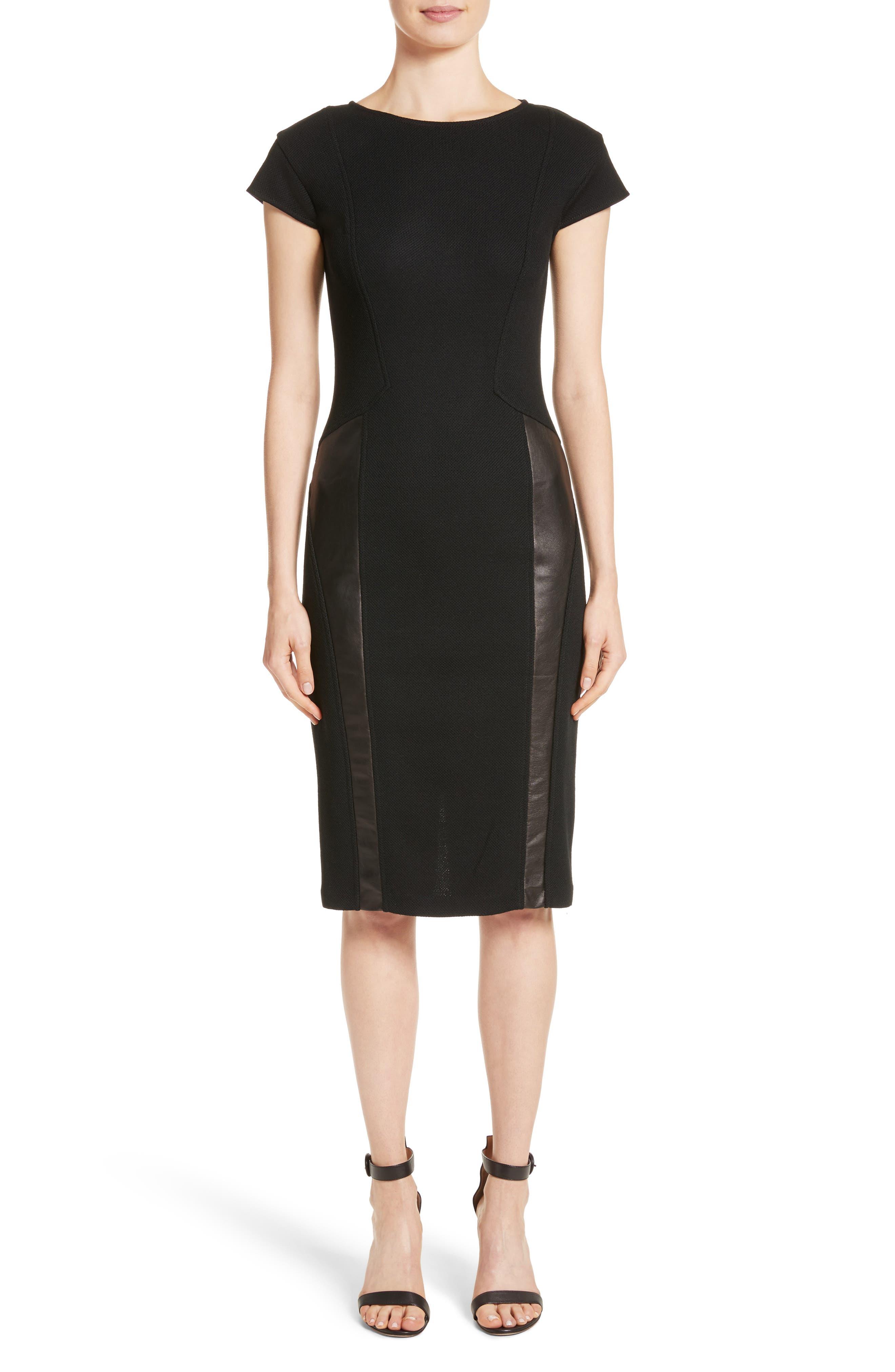 Leather Panel Milano Piqué Knit Dress,                         Main,                         color, Caviar