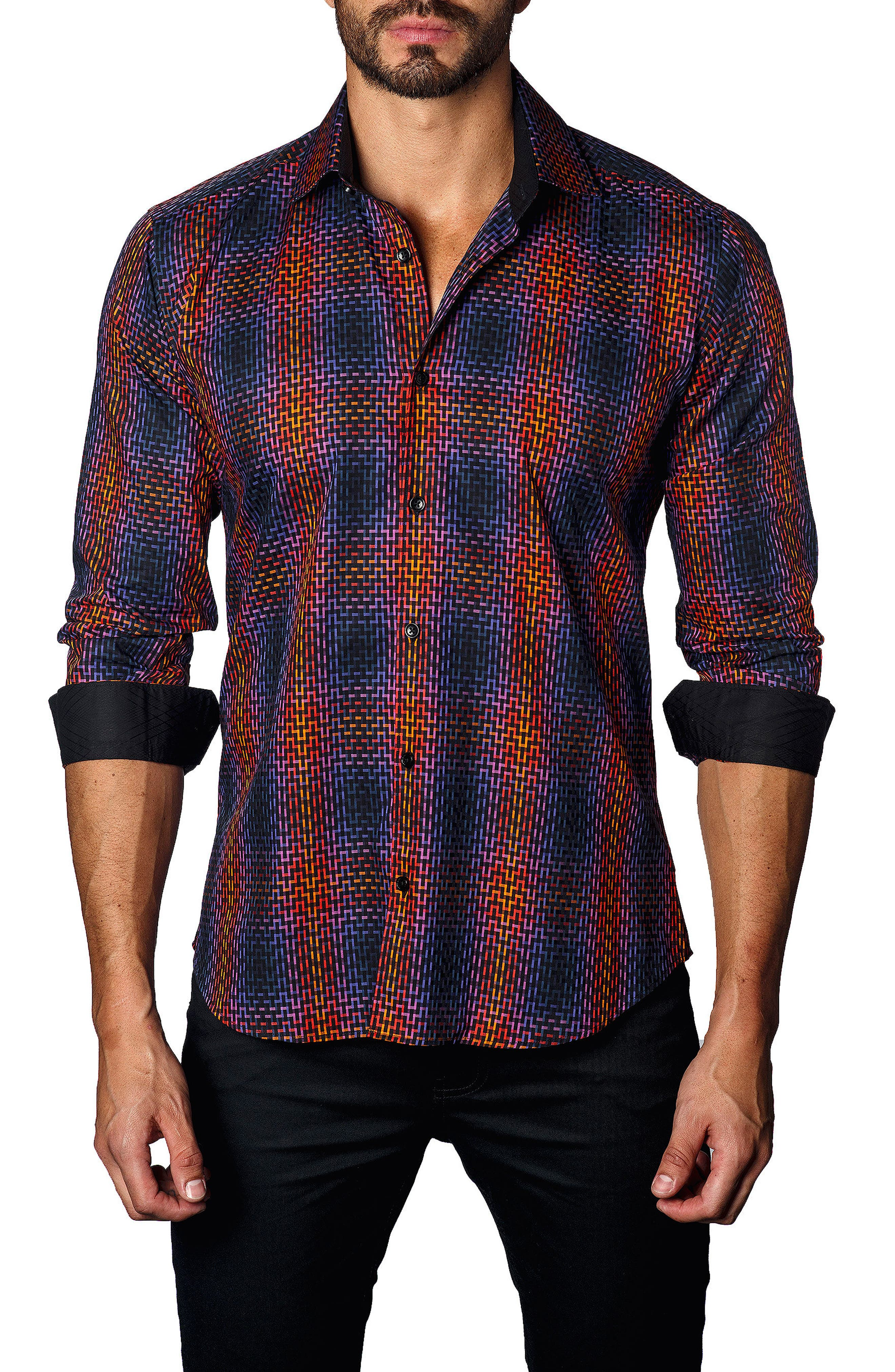 Trim Fit Ombré Plaid Sport Shirt,                             Main thumbnail 1, color,                             Orange/ Navy Geometric