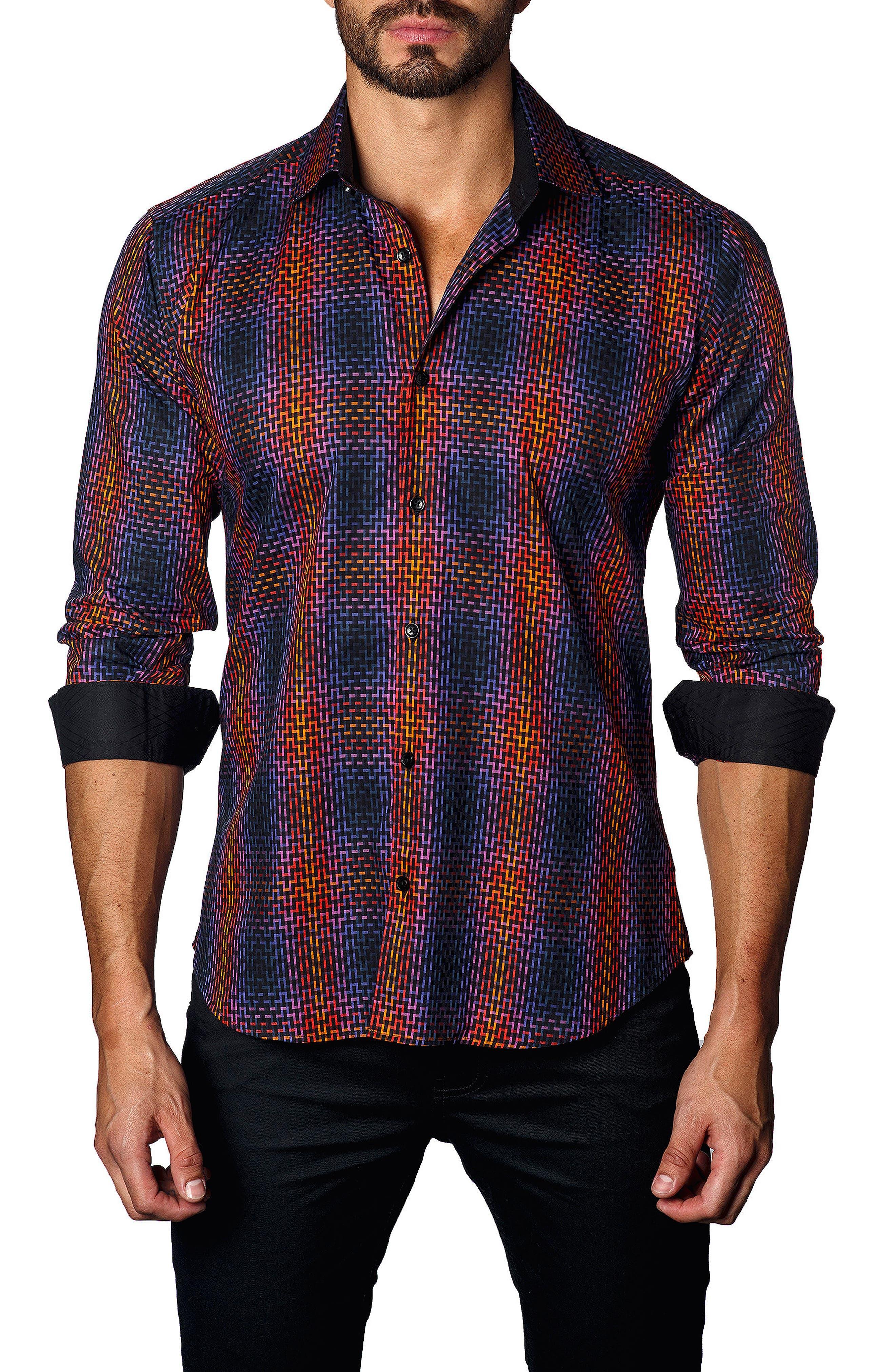 Trim Fit Ombré Plaid Sport Shirt,                         Main,                         color, Orange/ Navy Geometric
