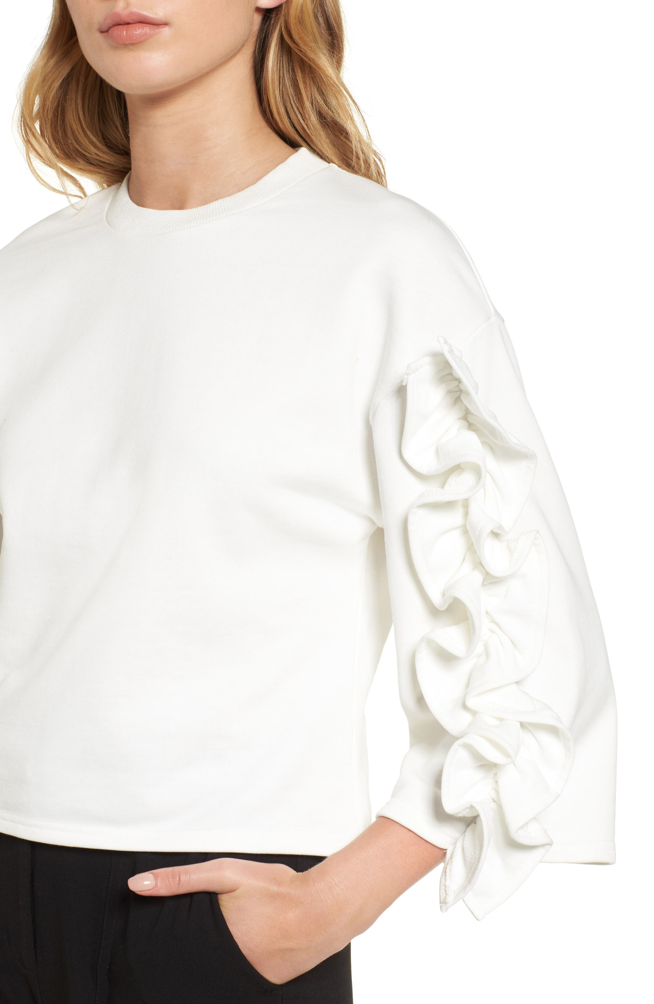 Ruffle Sleeve Top,                             Alternate thumbnail 4, color,                             White