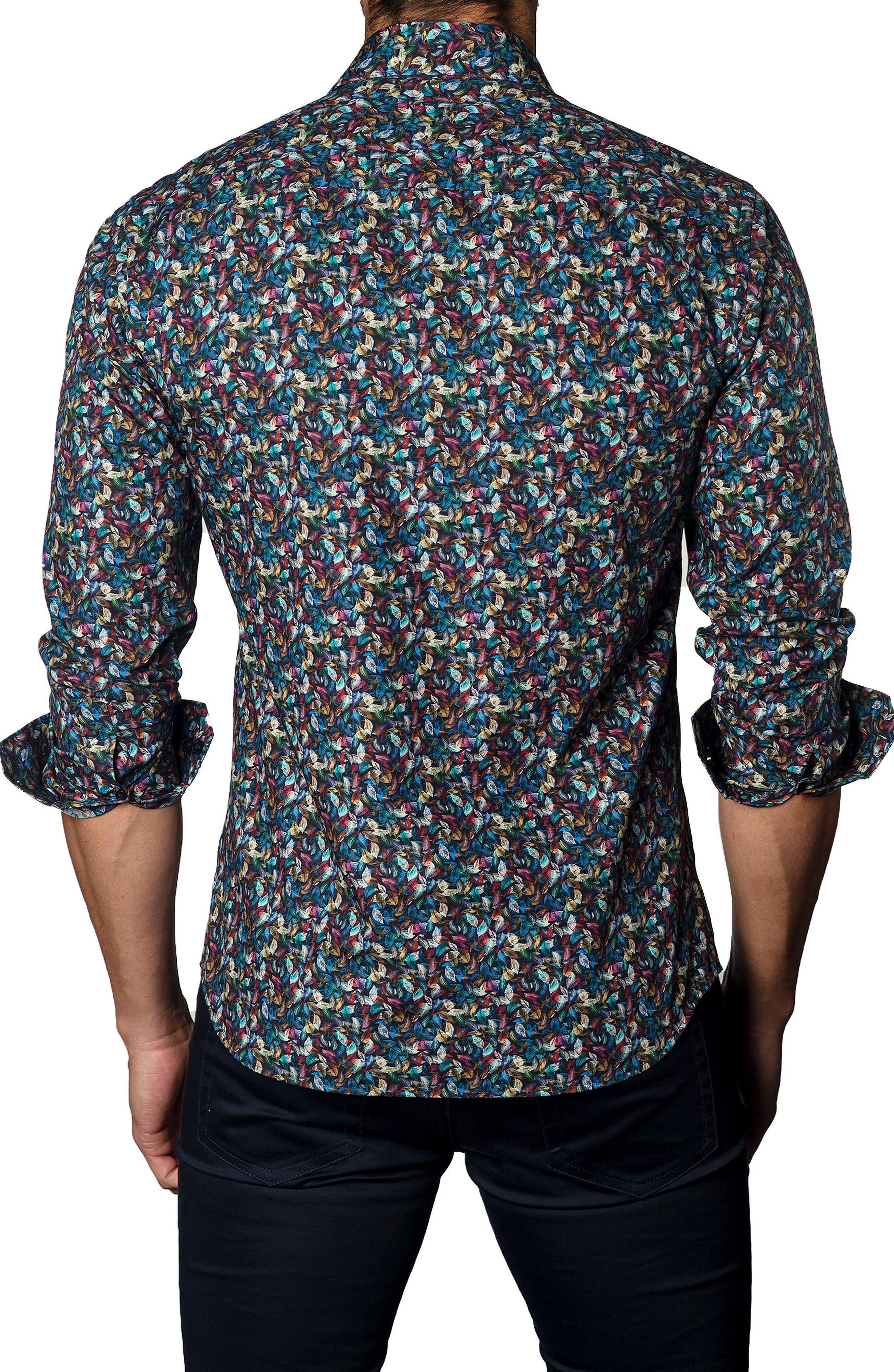 Trim Fit Leaf Print Sport Shirt,                             Alternate thumbnail 2, color,                             Navy / Multi Micro Feather