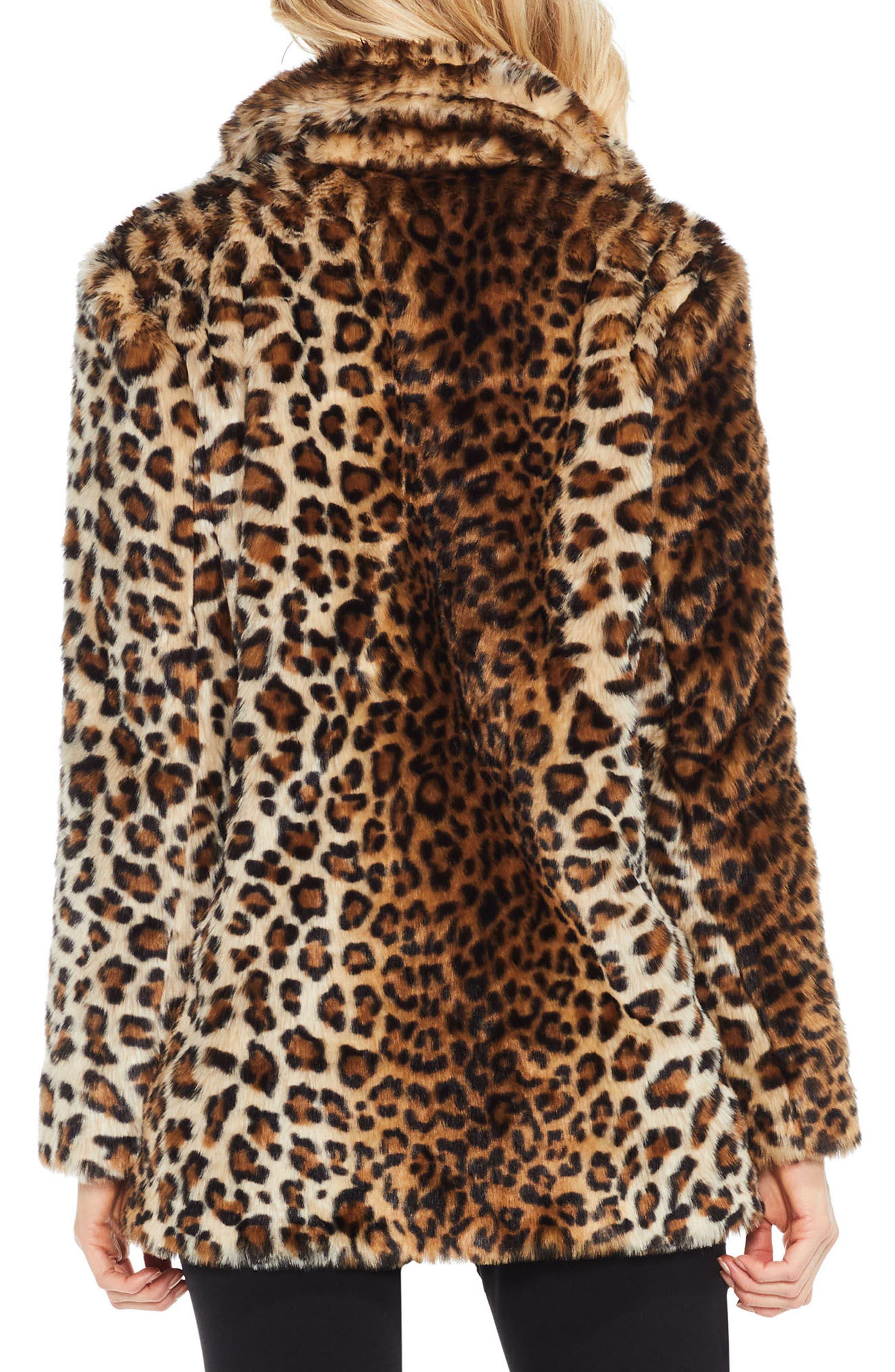 Leopard Print Faux Fur Jacket,                             Alternate thumbnail 2, color,                             Warm Camel