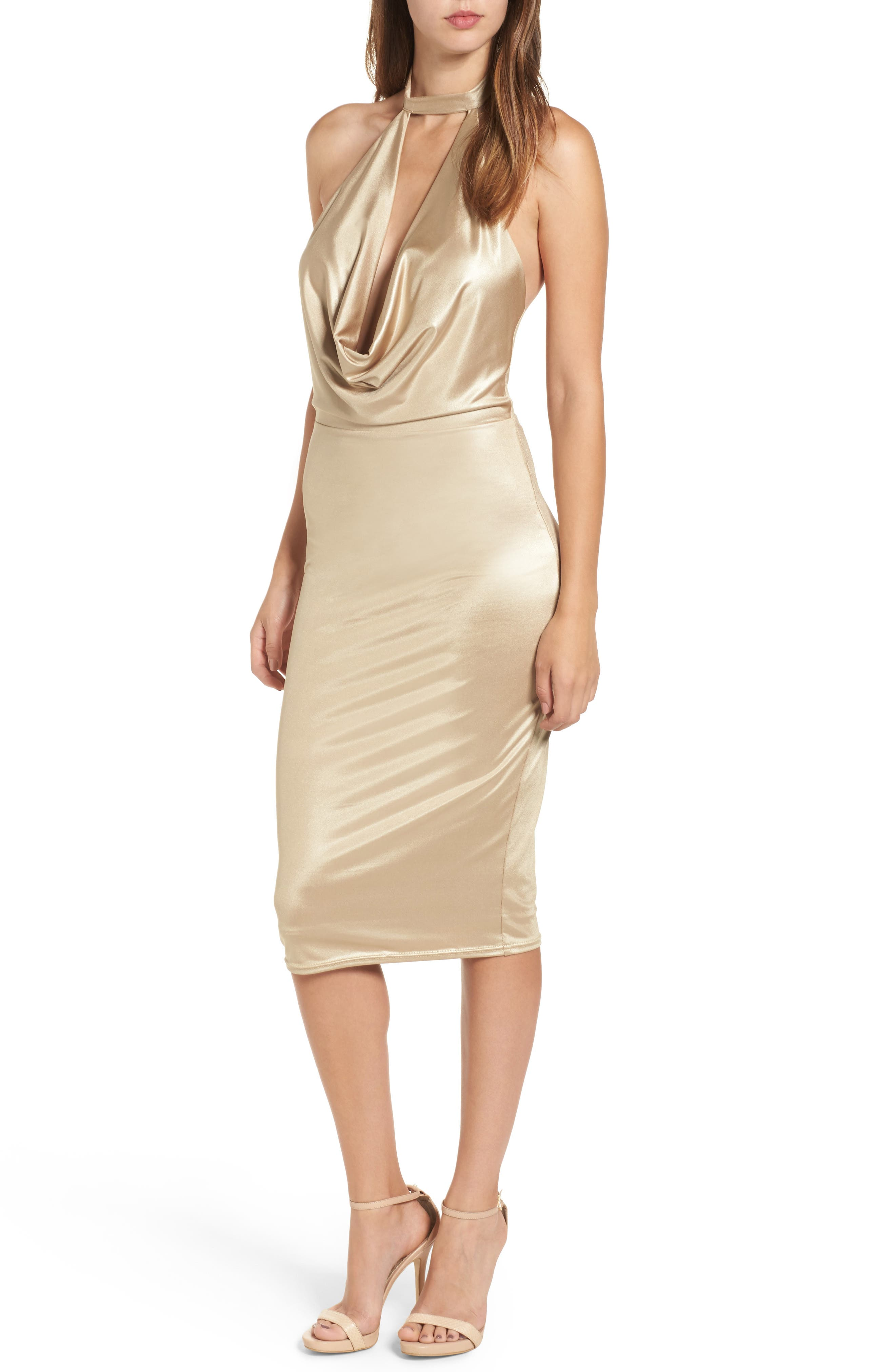 NBD Henley Cowl Neck Body-Con Dress