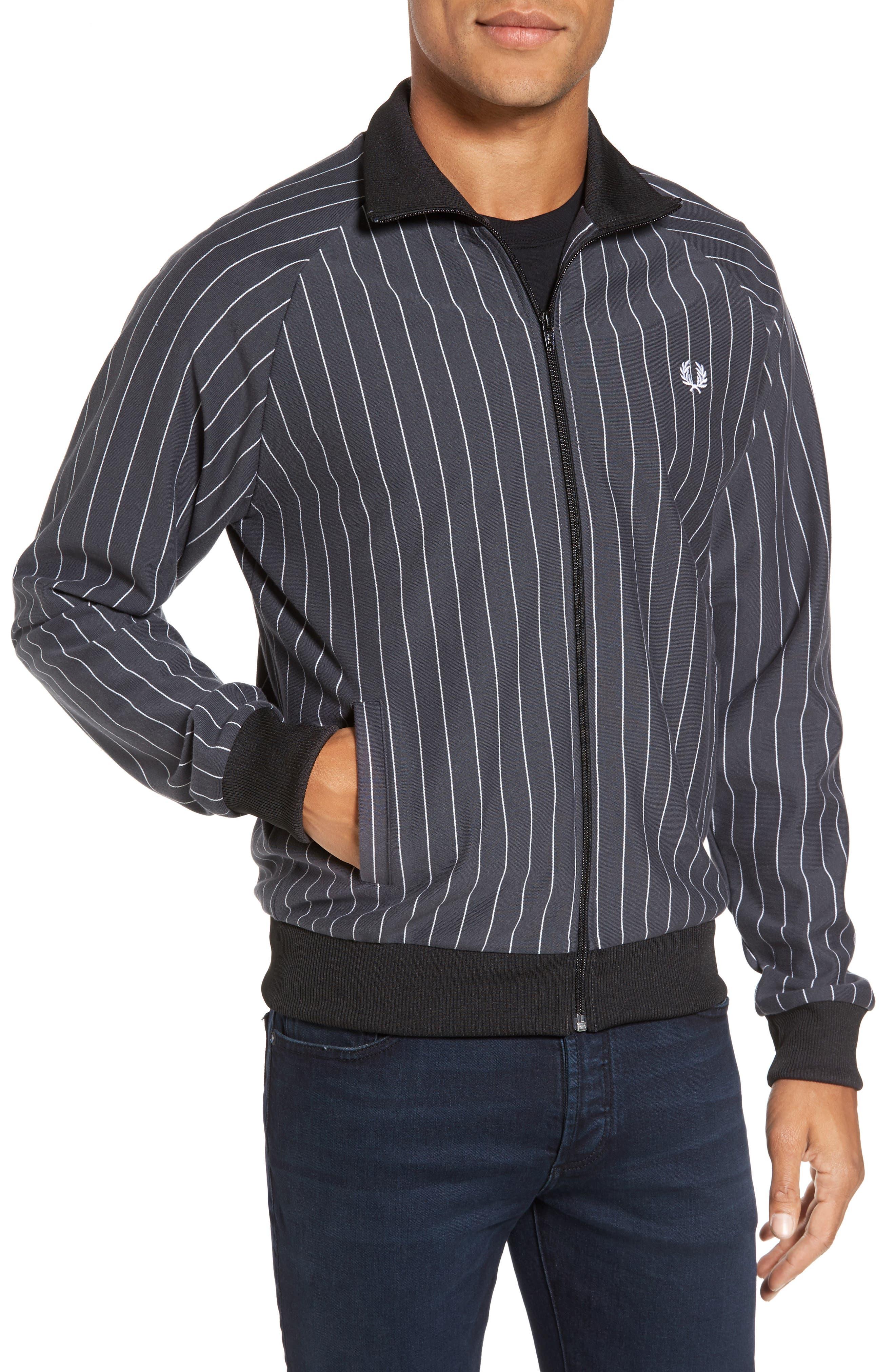 Pinstripe Track Jacket,                         Main,                         color, Dark Gunmetal
