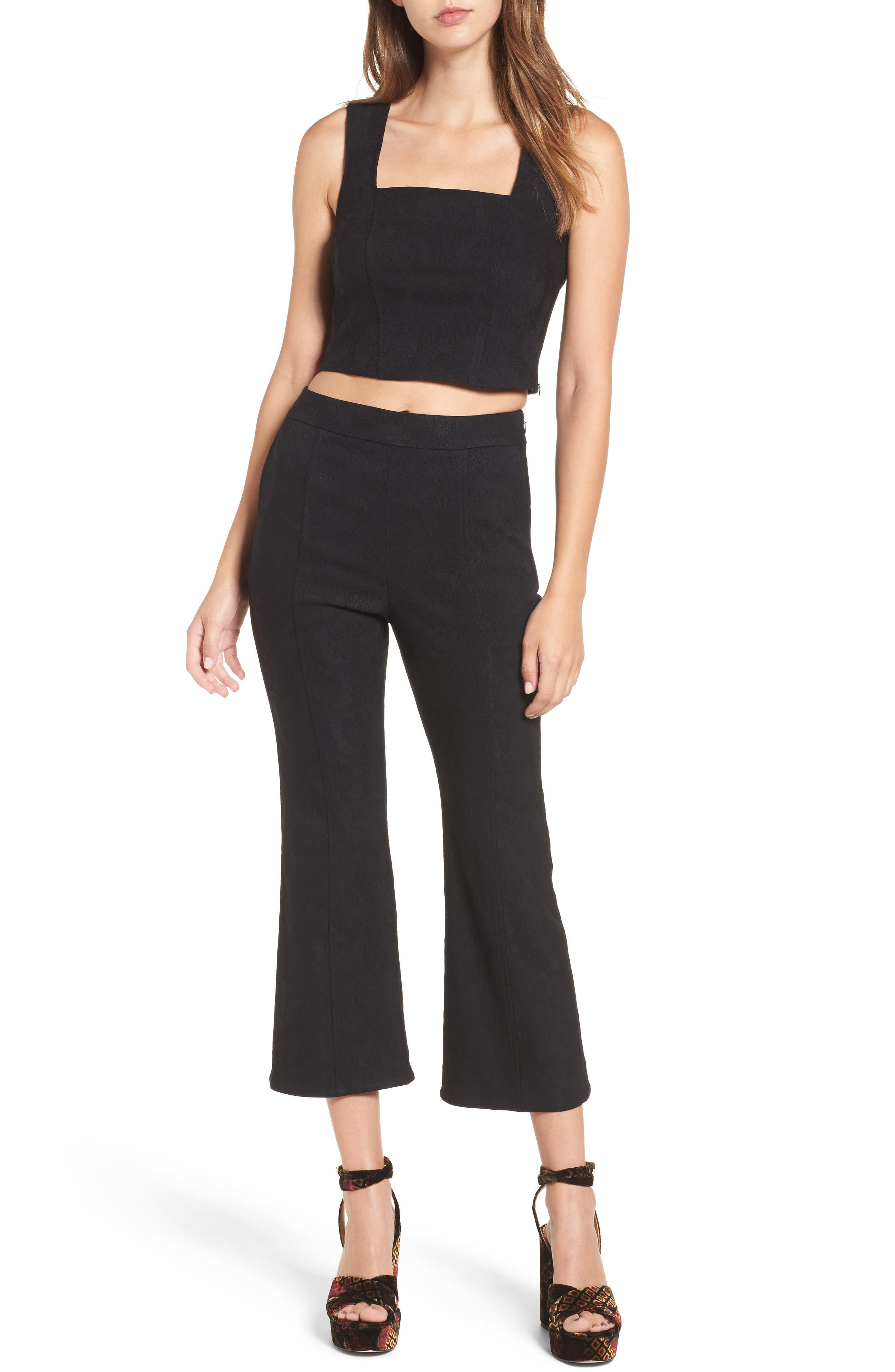 Leigh High Waist Crop Pants,                             Alternate thumbnail 2, color,                             Black