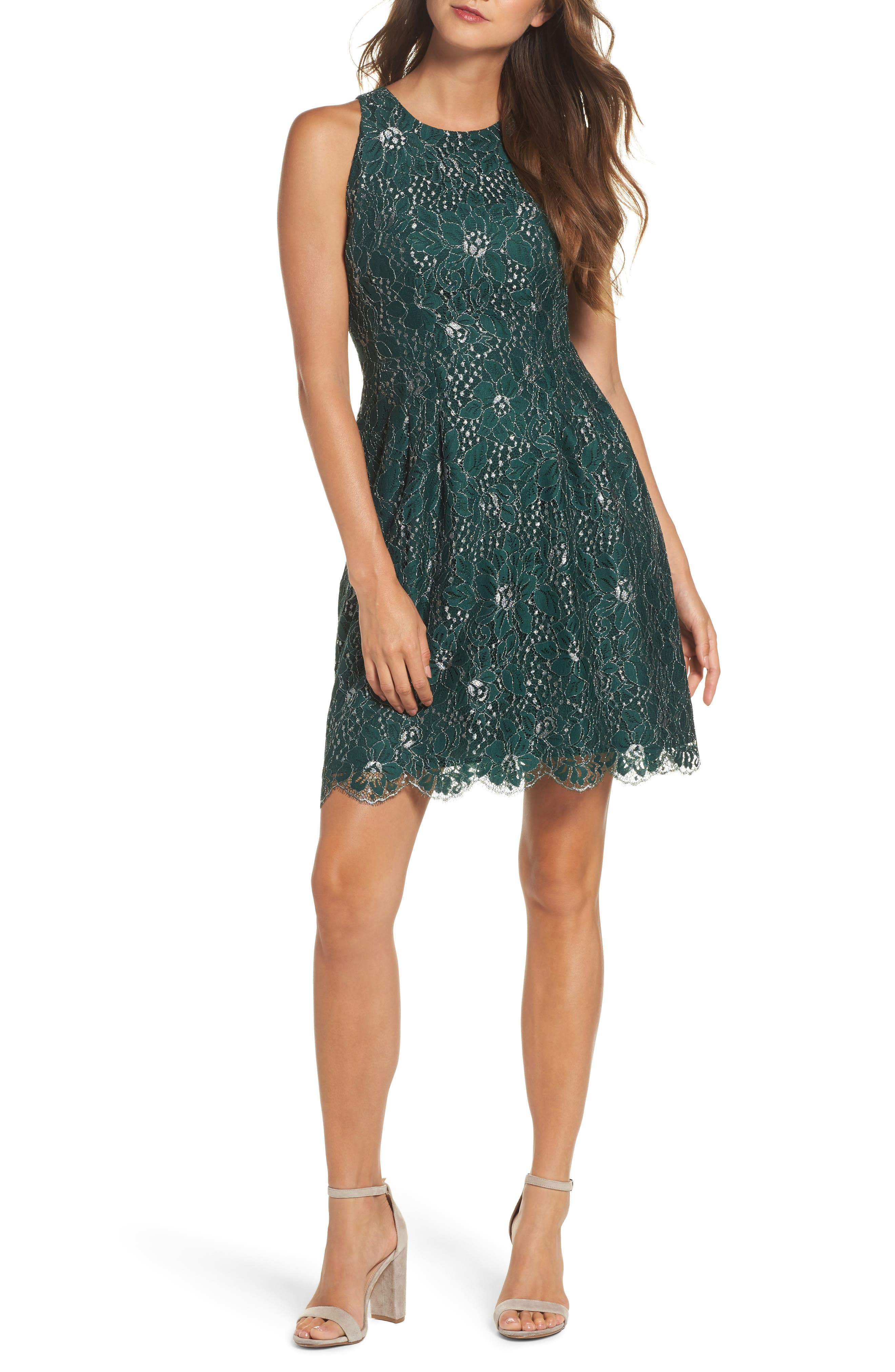Metallic Lace Fit & Flare Dress,                         Main,                         color, Green